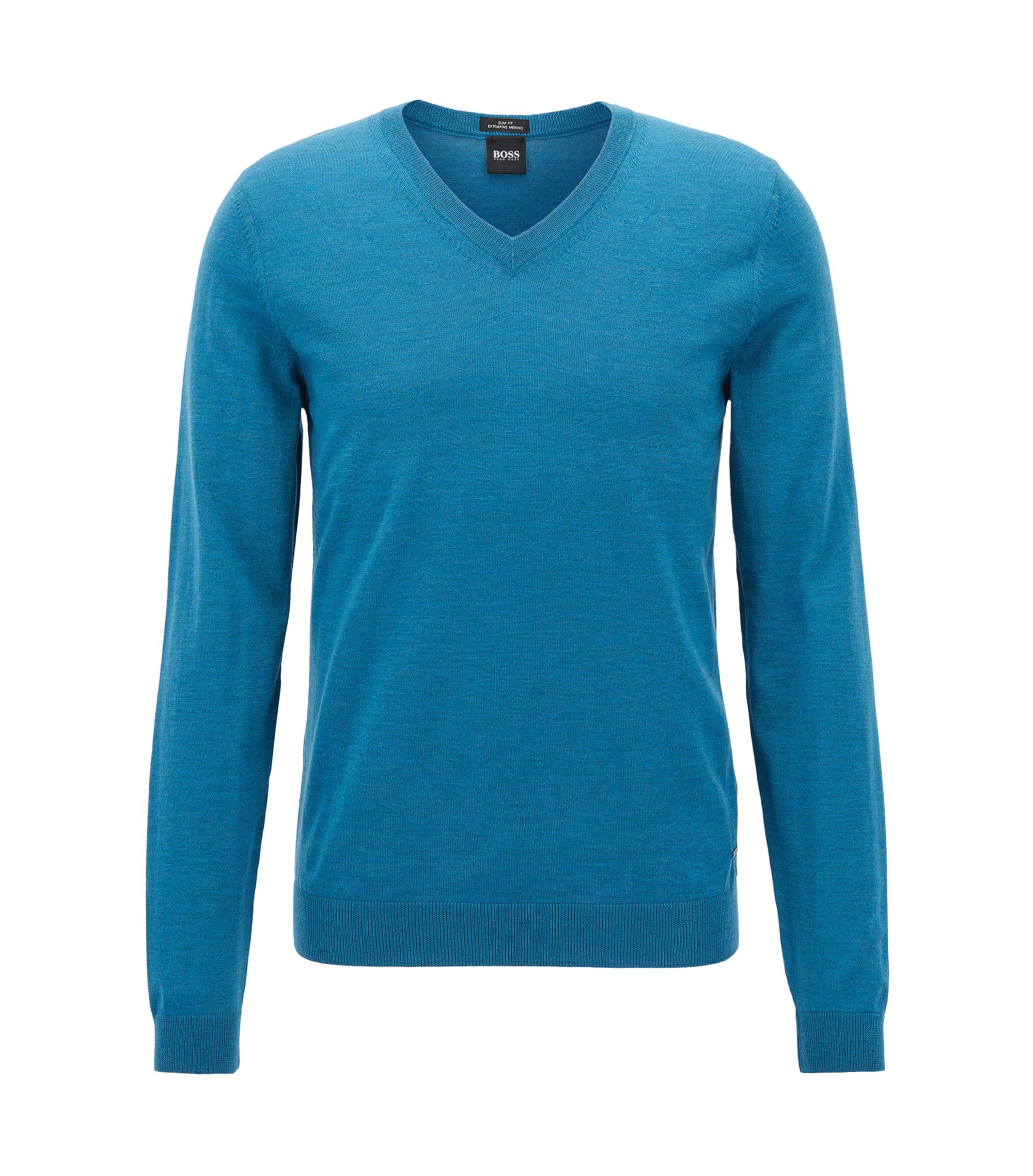 V-neck sweater in mulesing-free wool, Turquoise