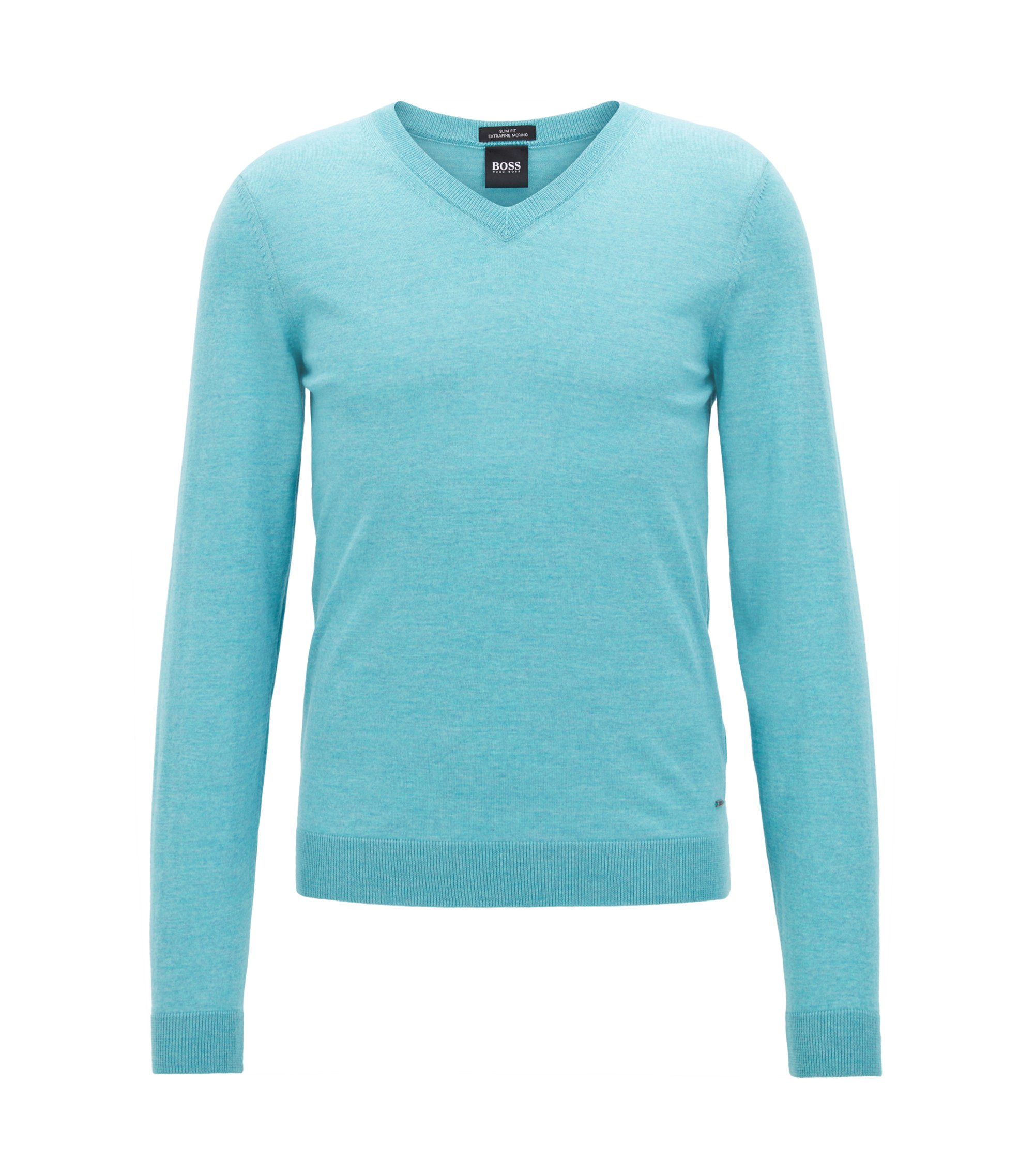 V-neck sweater in mulesing-free wool, Light Blue