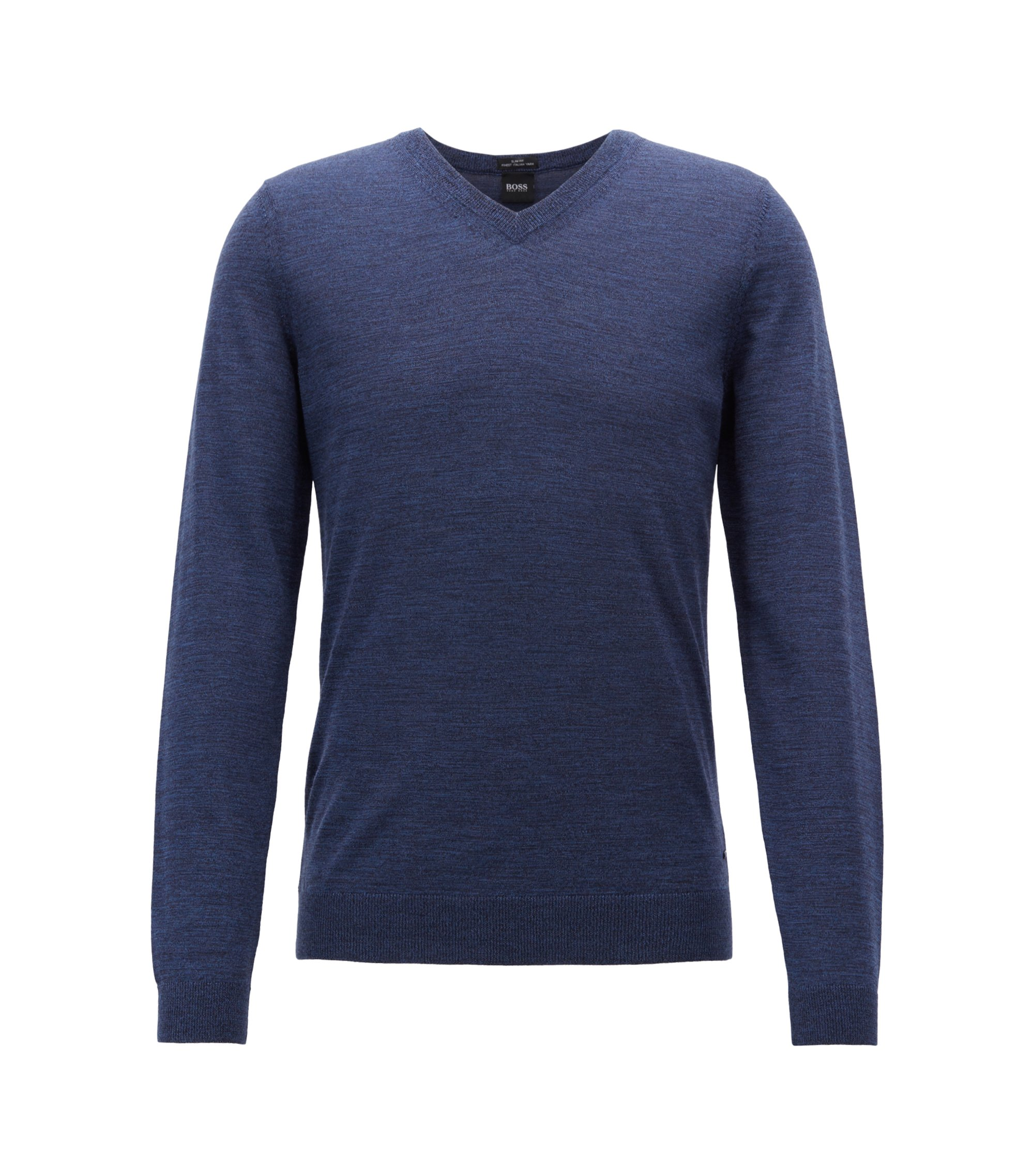 V-neck sweater in mulesing-free wool, Open Blue