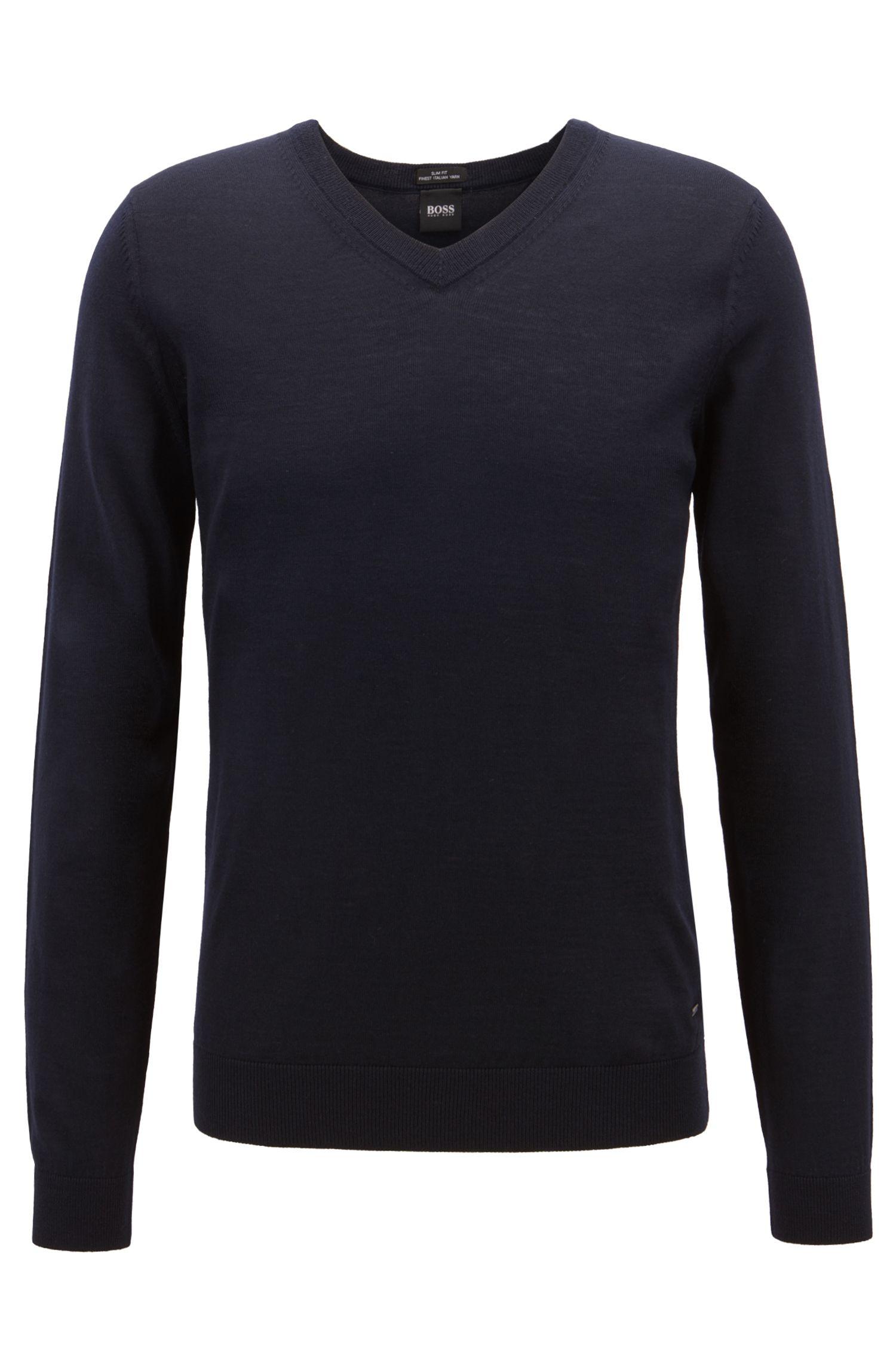 V-neck sweater in mulesing-free wool, Open Blue