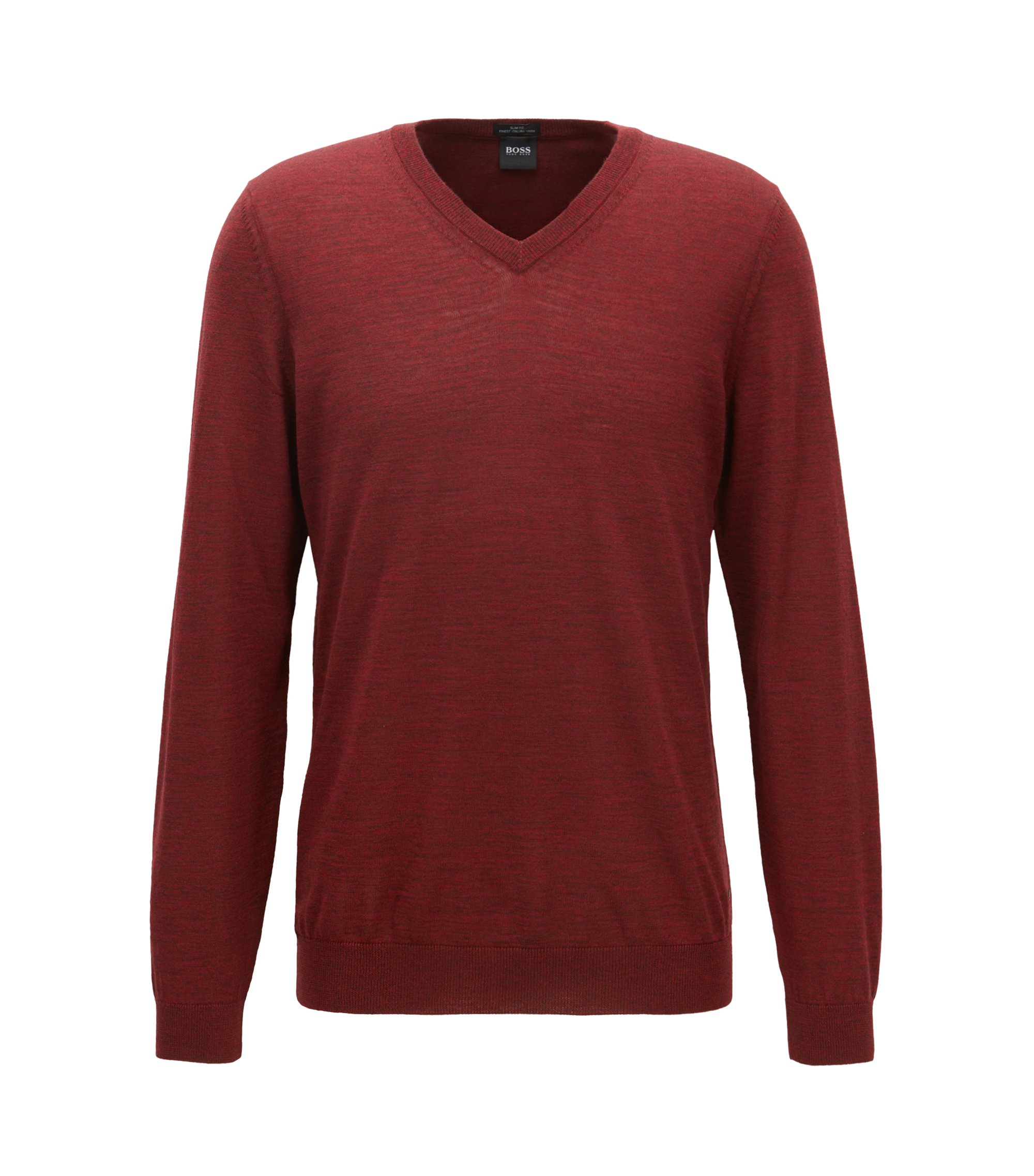 V-neck sweater in mulesing-free wool, Dark Red