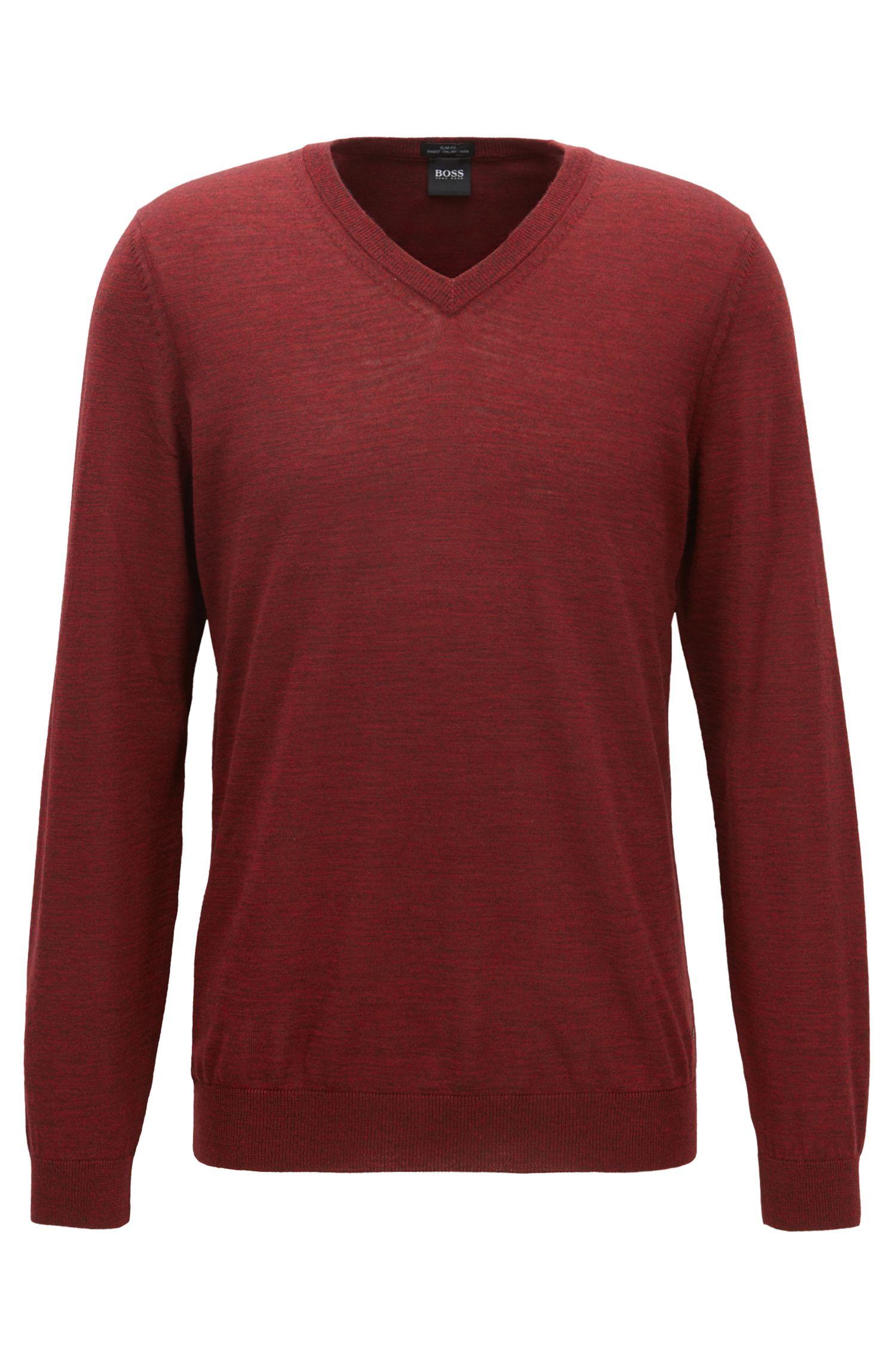 V-neck sweater in mulesing-free wool, Dark Red