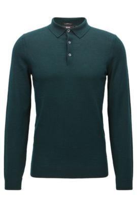 Merino Wool Polo Shirt, Slim Fit | Palasco, Open Green