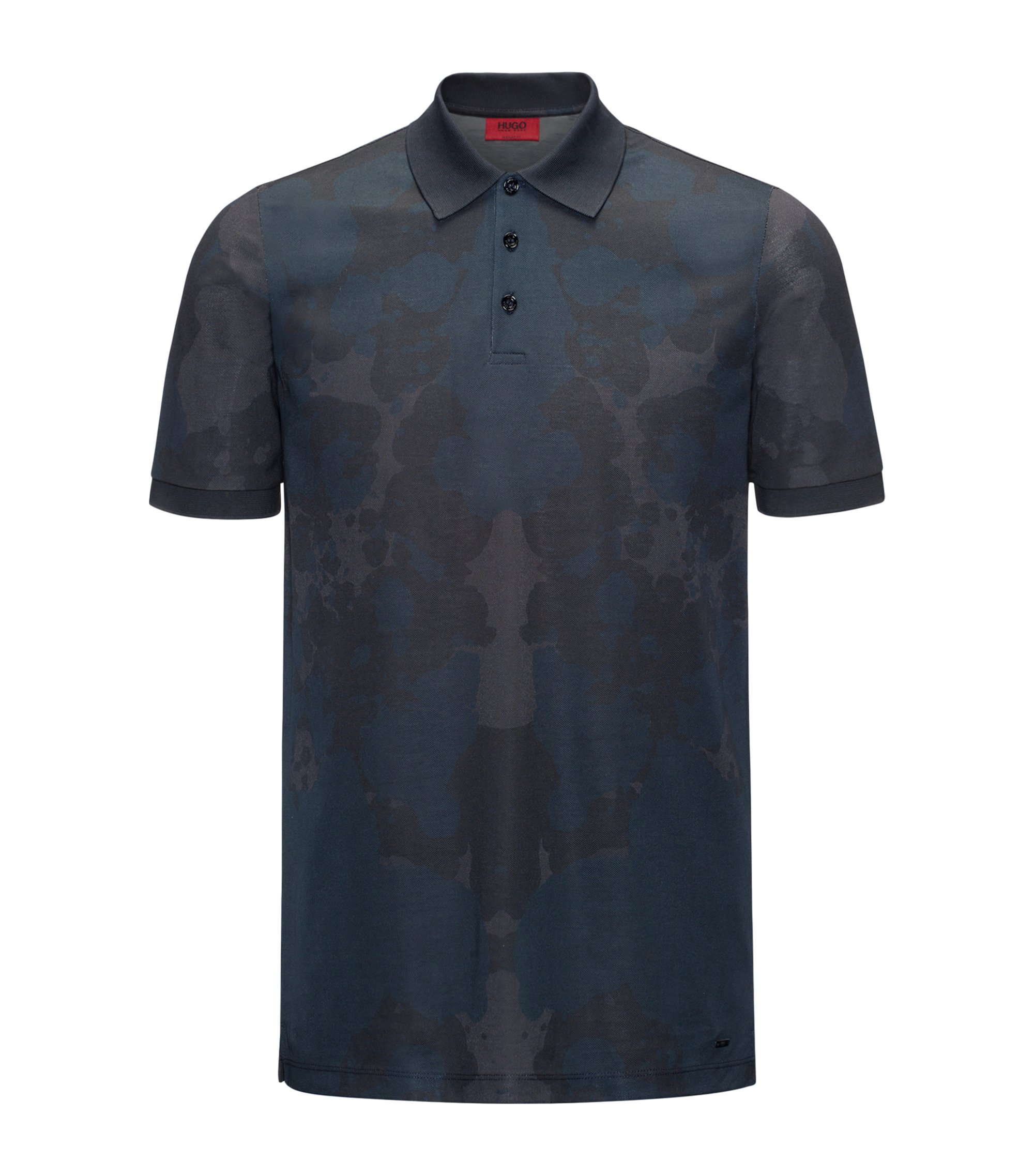 Rorschach-Print Cotton Polo Shirt, Slim Fit | Dridge, Dark Blue