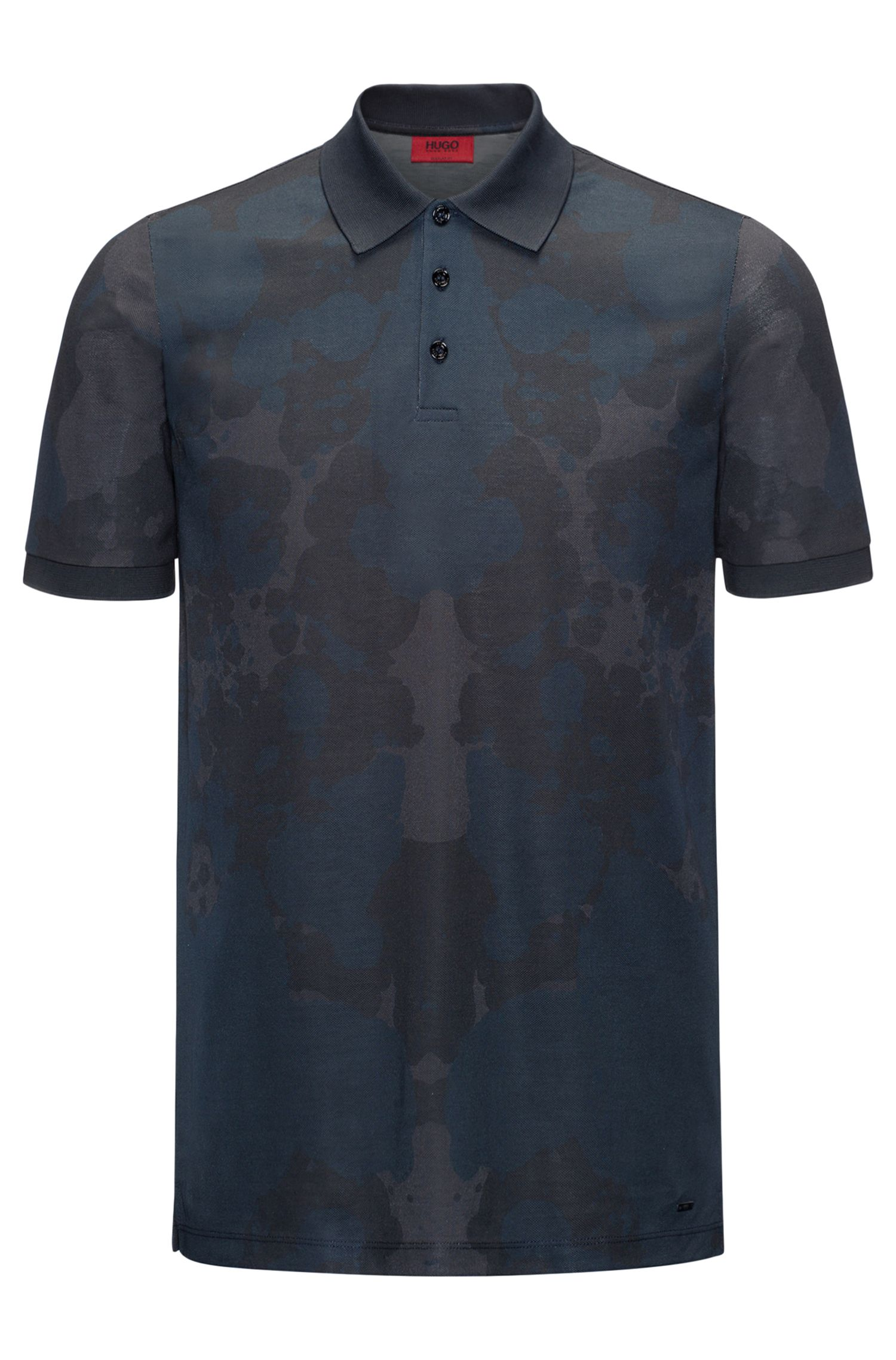 Rorschach-Print Cotton Polo Shirt, Slim Fit | Dridge