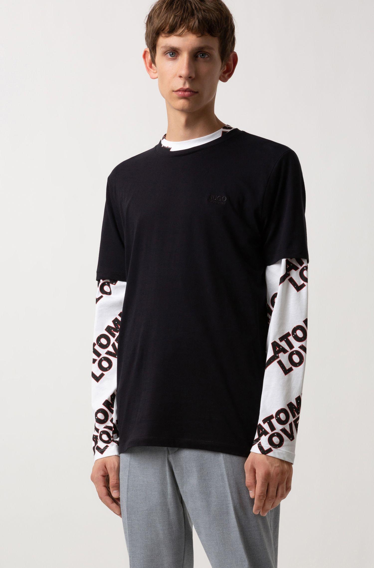 Regular-fit logo T-shirt in soft cotton, Black