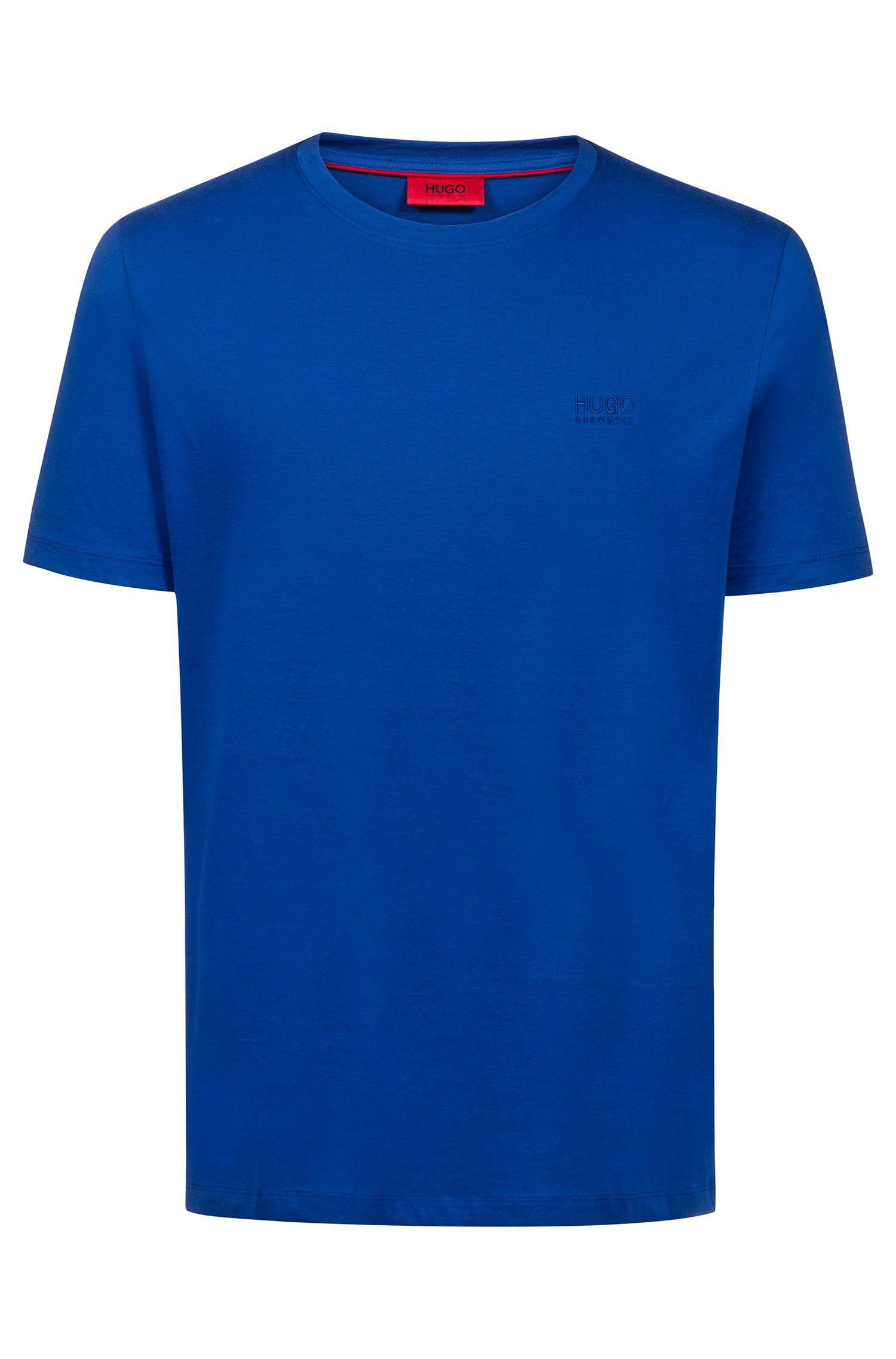 Regular-fit logo T-shirt in soft cotton, Blue