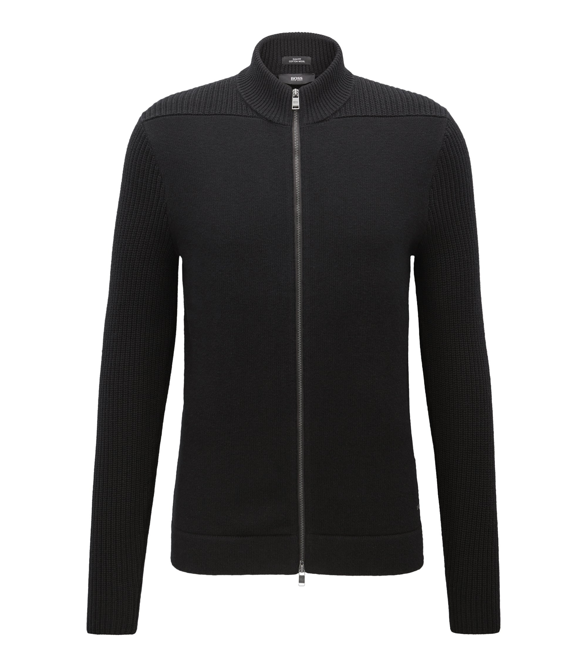 Cotton-Wool Full-Zip Jacket | Picetti, Black