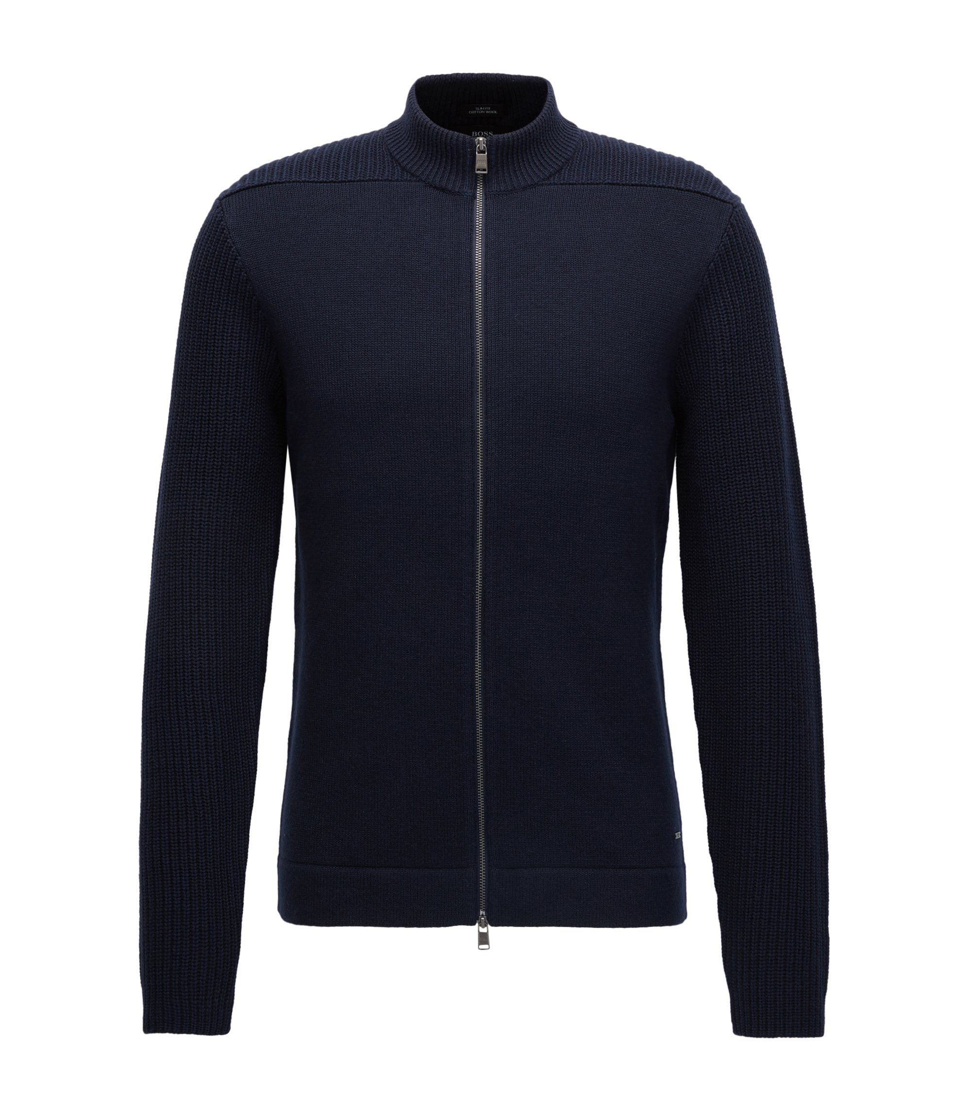 Cotton-Wool Full-Zip Jacket | Picetti, Dark Blue