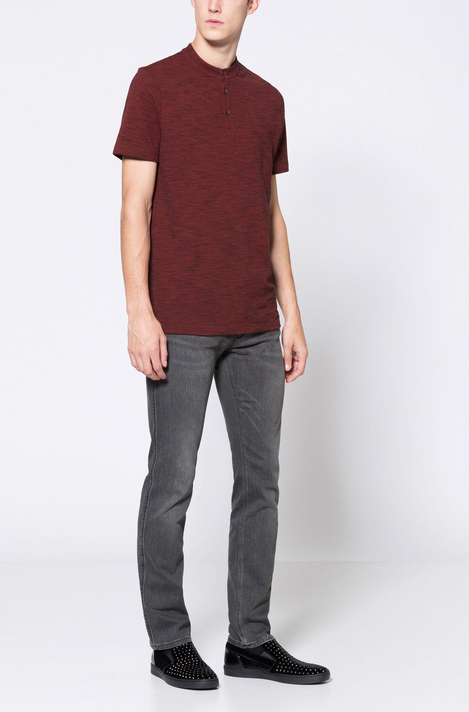 Mouline Oxford Cotton Henley Shirt, Regular Fit | Dayes