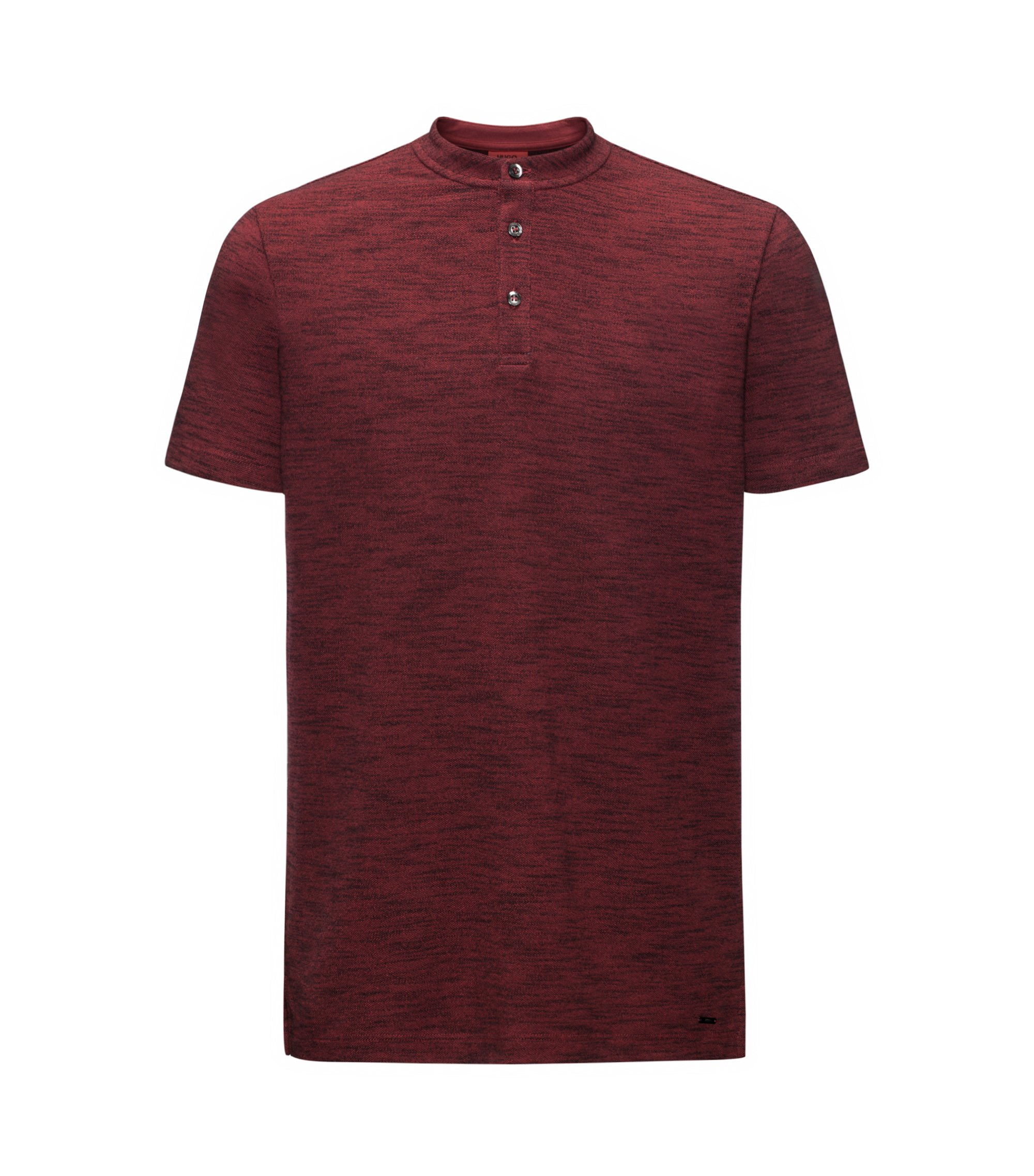 Mouline Oxford Cotton Henley Shirt, Regular Fit | Dayes, Dark Red
