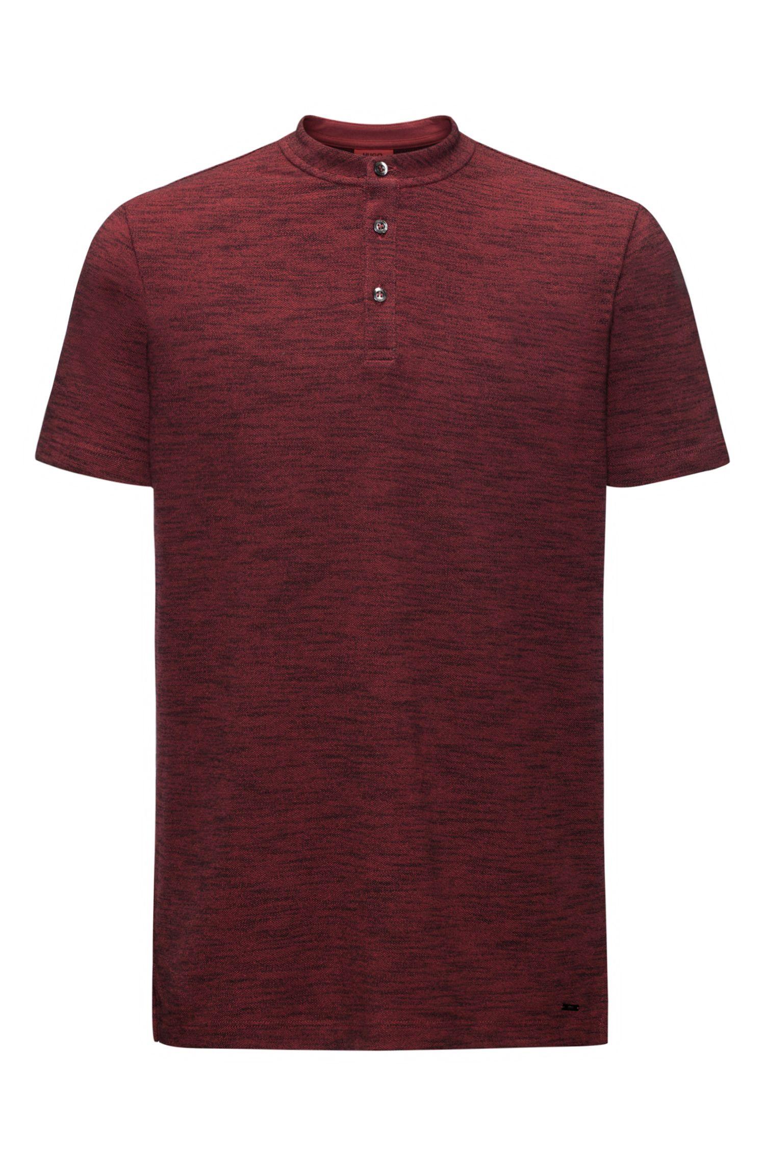 Mouline Oxford Cotton Henley Shirt, Regular Fit | Dayes, Dark Red