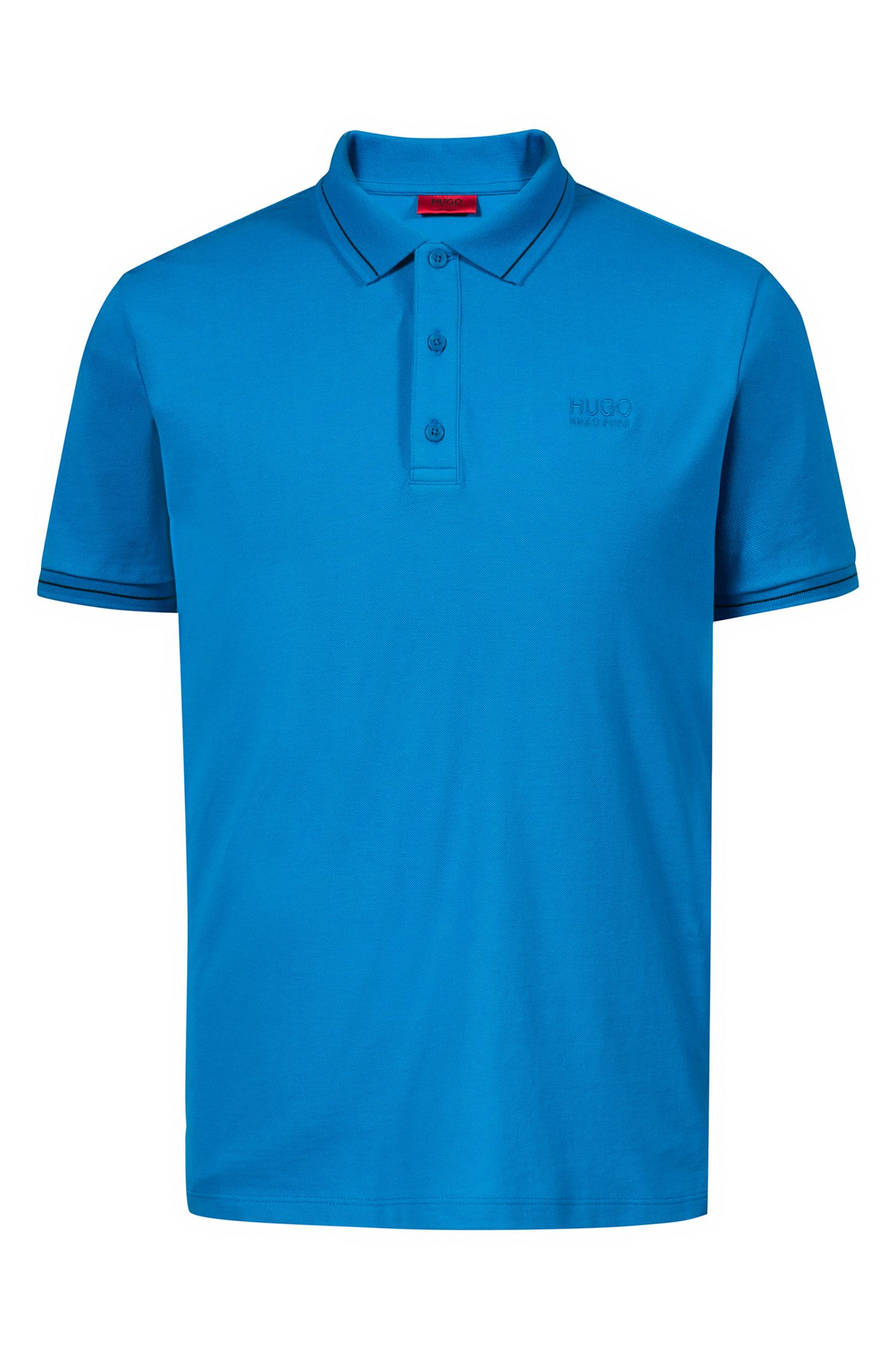 Regular-fit cotton polo shirt with contrast tipping, Blue