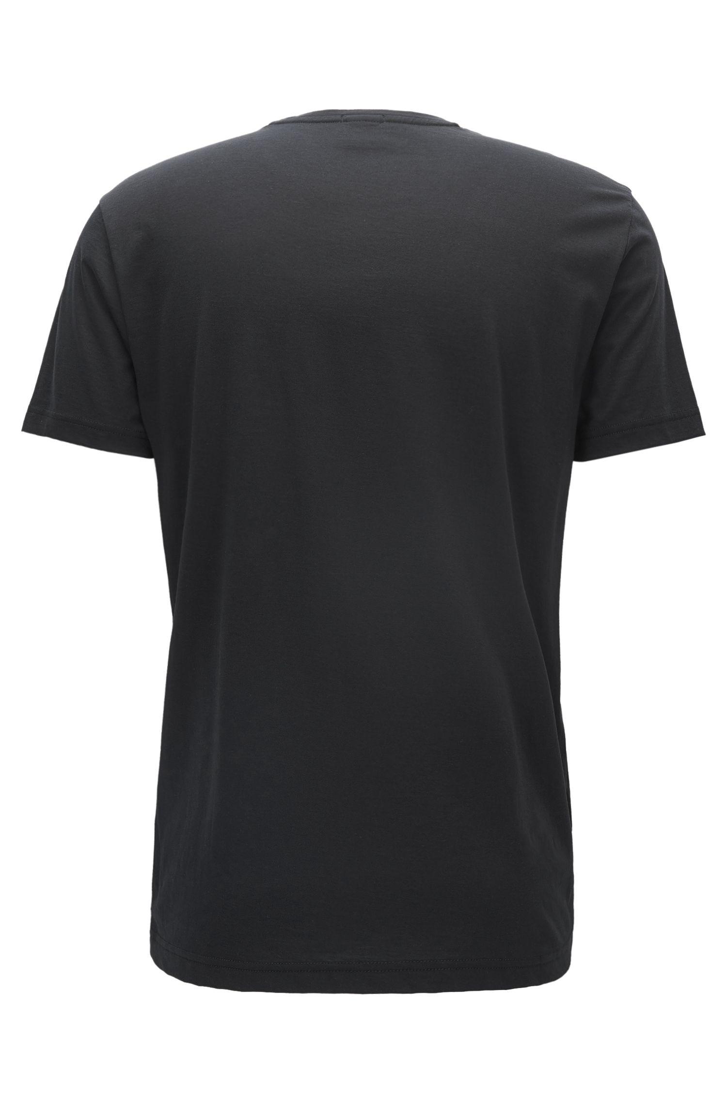 Mesh-Print Cotton Graphic T-Shirt | Tee, Black