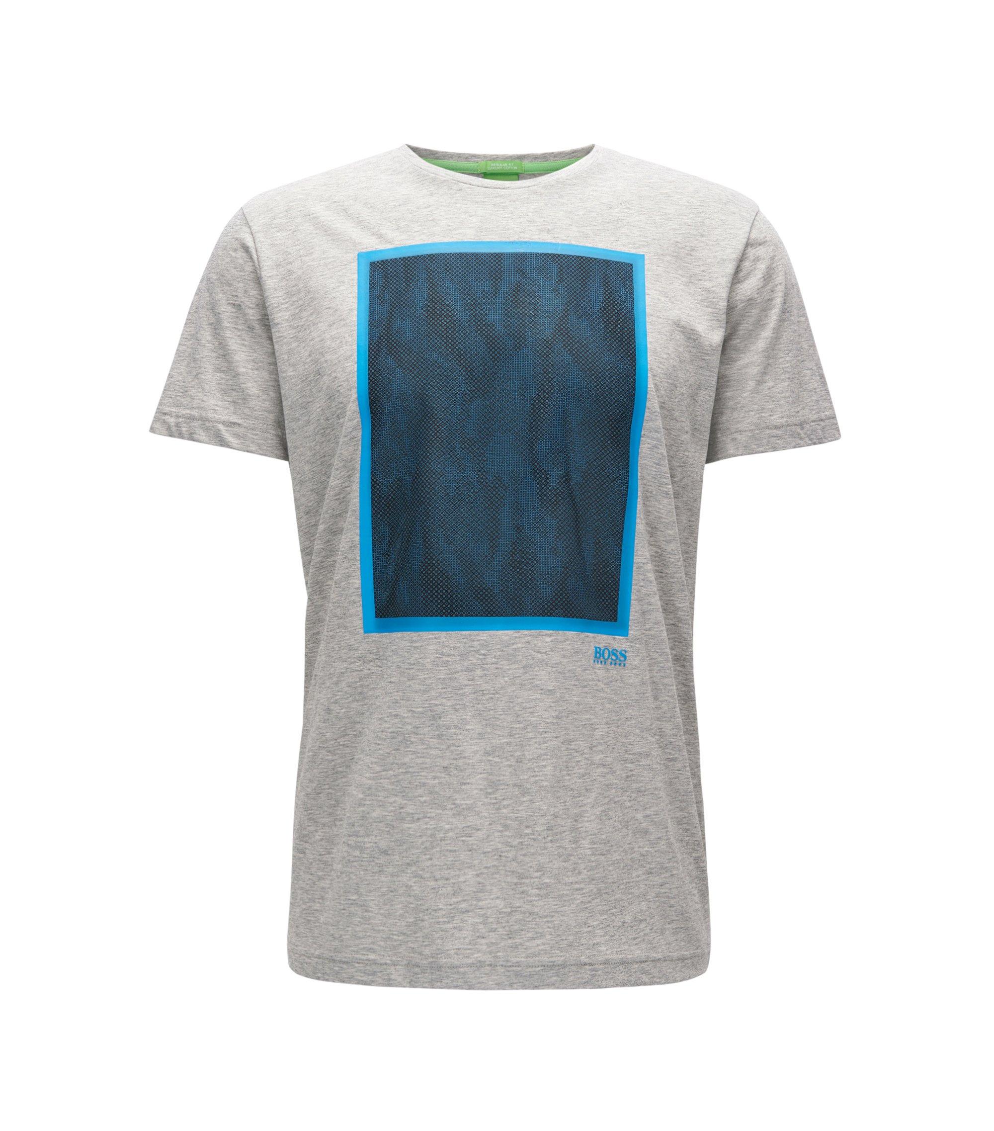 Mesh-Print Cotton Graphic T-Shirt | Tee, Light Grey