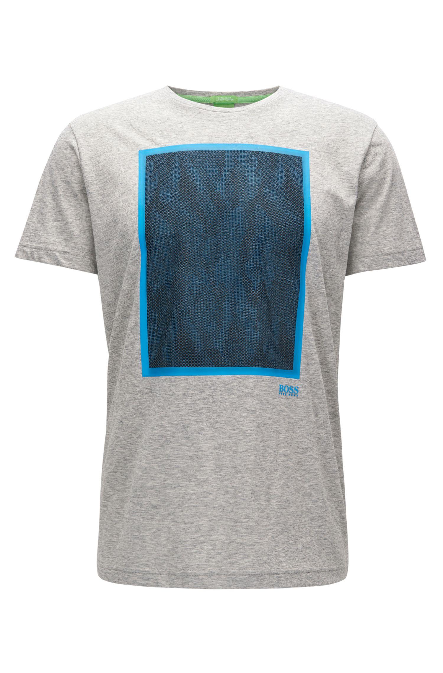 Mesh-Print Cotton Graphic T-Shirt | Tee