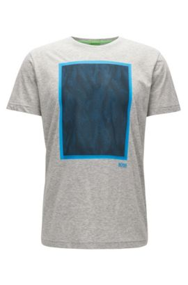 Mesh-Print Cotton Graphic T-Shirt | Tee, Light Grey