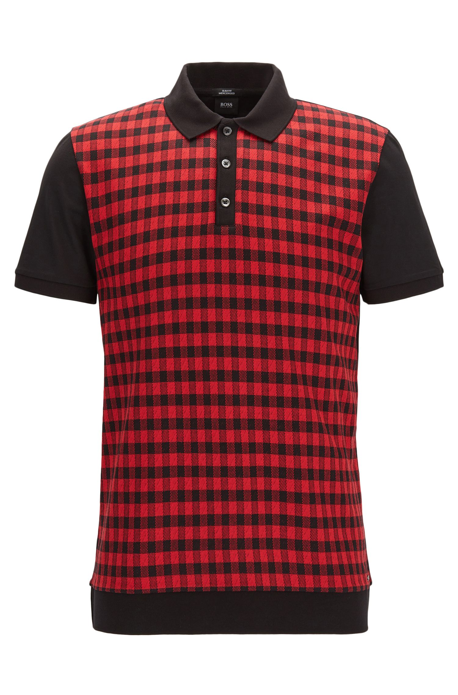 Checked Mercerized Cotton Polo Shirt, Slim Fit | Phillipson