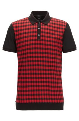 Checked Mercerized Cotton Polo Shirt, Slim Fit | Phillipson, Red