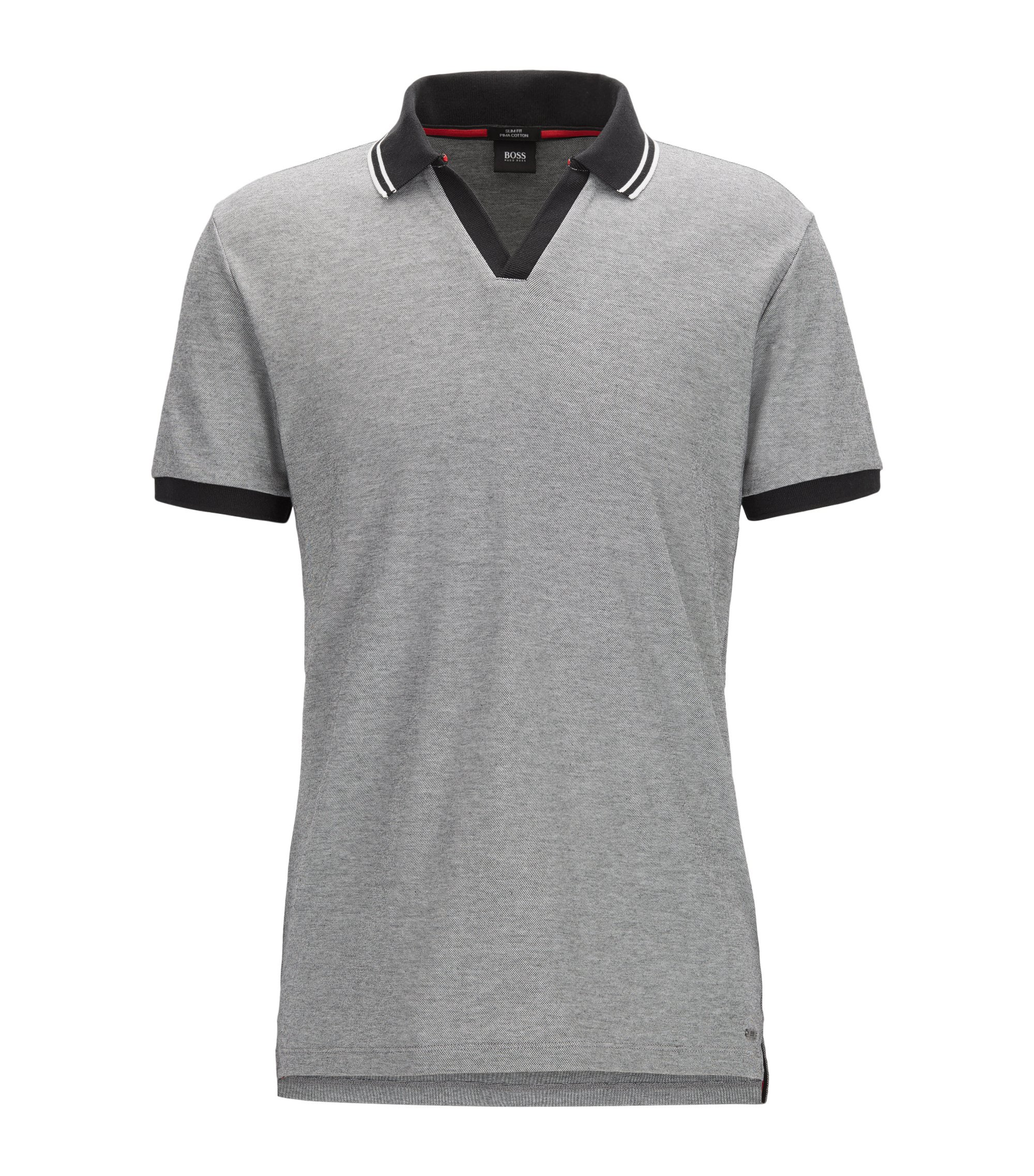 Pique Cotton Polo Shirt, Slim Fit | Phillipson, Black