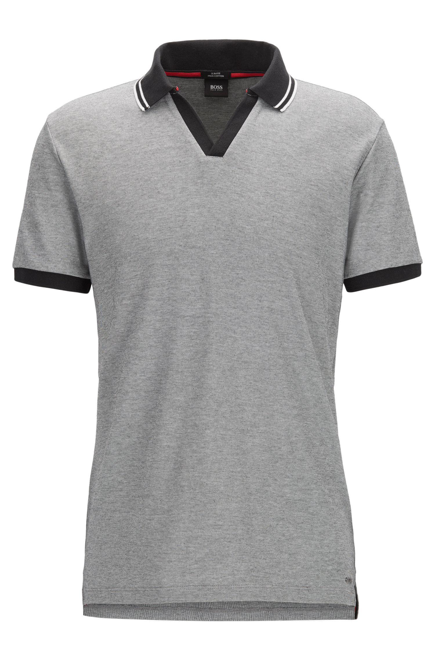 Pique Cotton Polo Shirt, Slim Fit | Phillipson, Black