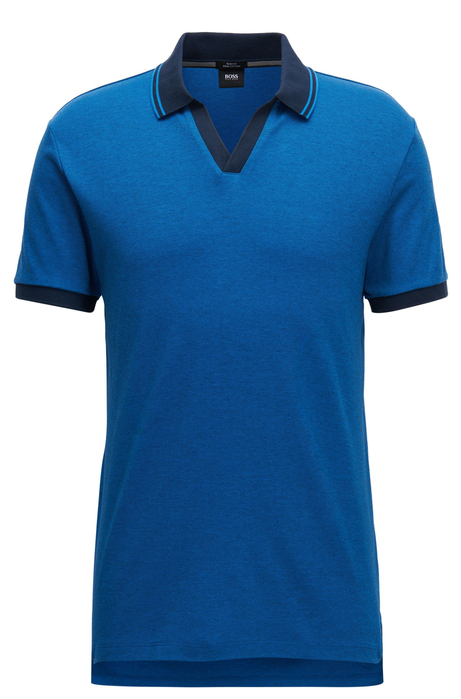 Pique Cotton Polo Shirt, Slim Fit | Phillipson, Dark Blue