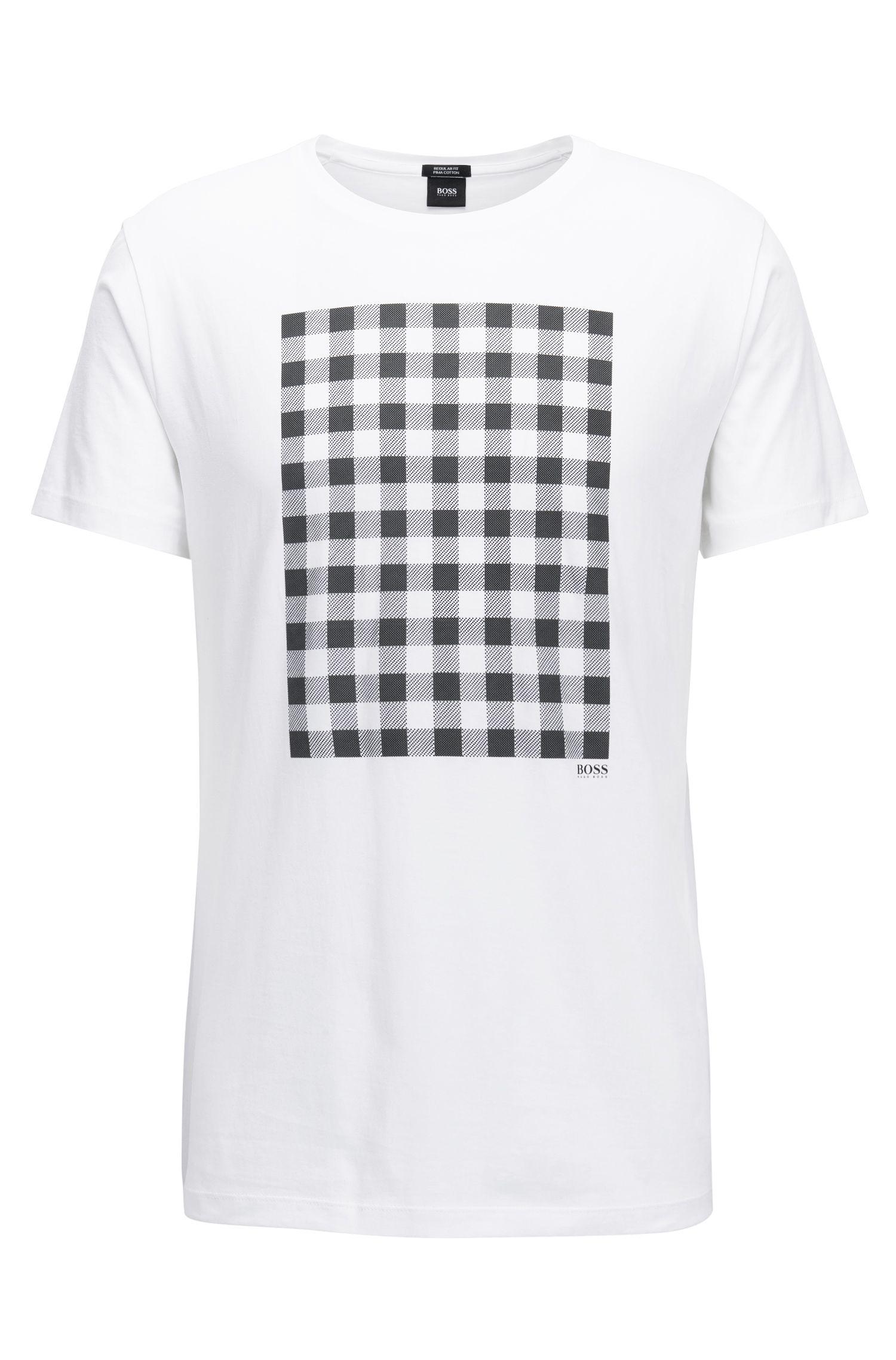 Gingham-Print Pima Cotton T-Shirt   Tiburt