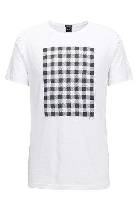 f82f7ffdb BOSS - Gingham-Print Pima Cotton T-Shirt | Tiburt