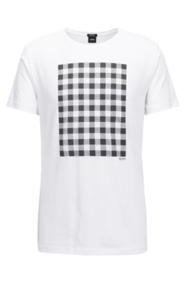 Gingham-Print Pima Cotton T-Shirt | Tiburt, White