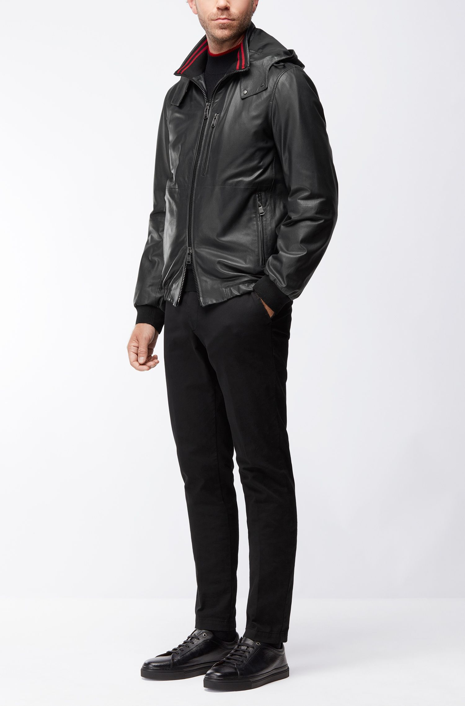Perforated Nappa Leather Jacket | Akibo