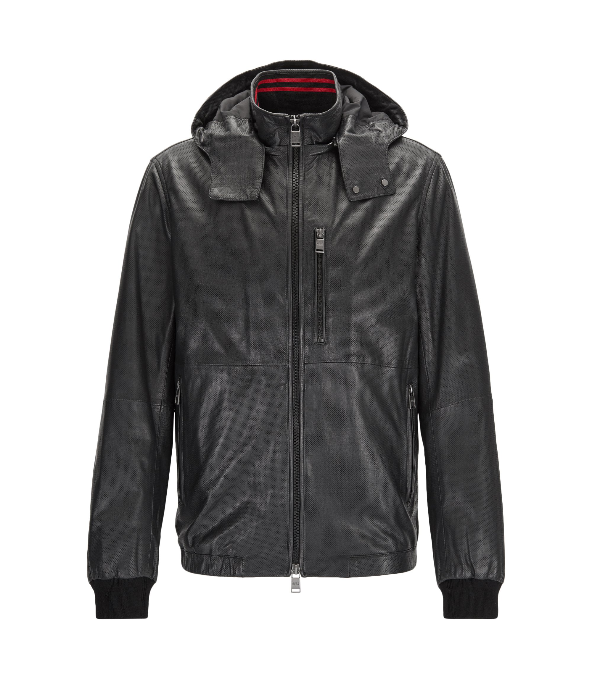 Perforated Nappa Leather Jacket | Akibo, Black