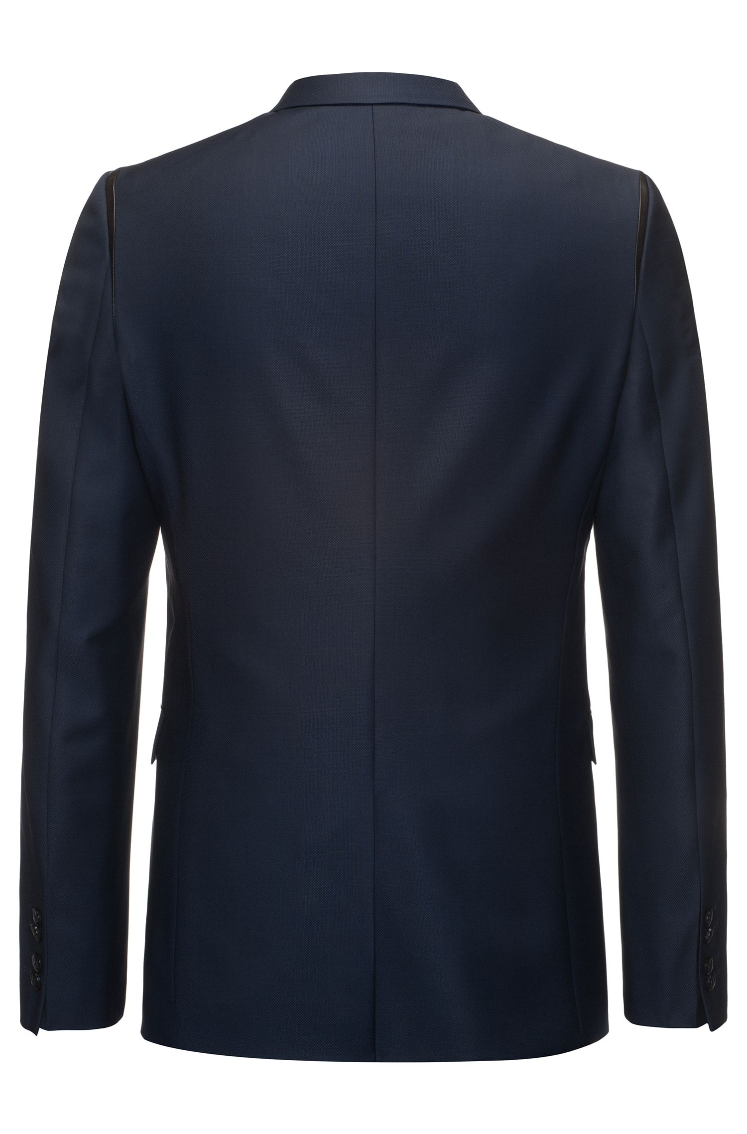 Leather-Trim Wool Sport Coat, Extra Slim Fit | Arwet