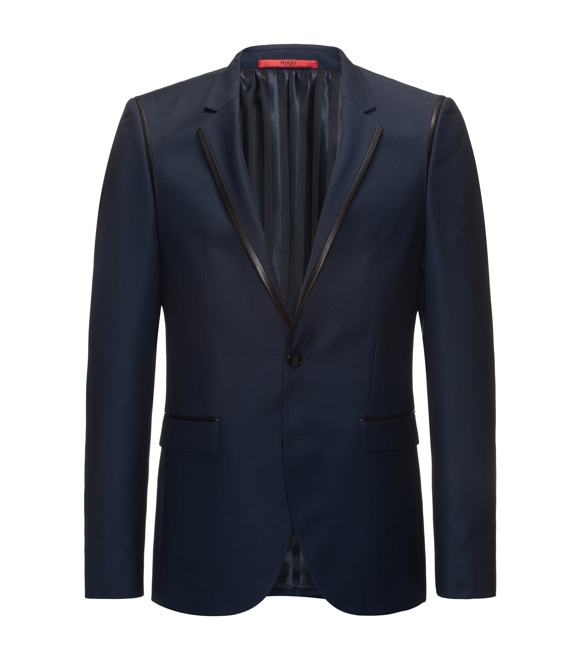 Leather-Trim Wool Sport Coat, Extra Slim Fit | Arwet, Dark Blue