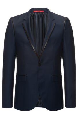 Leather-Trim Wool Sport Coat, Extra Slim Fit | Arwet, Dark Blue