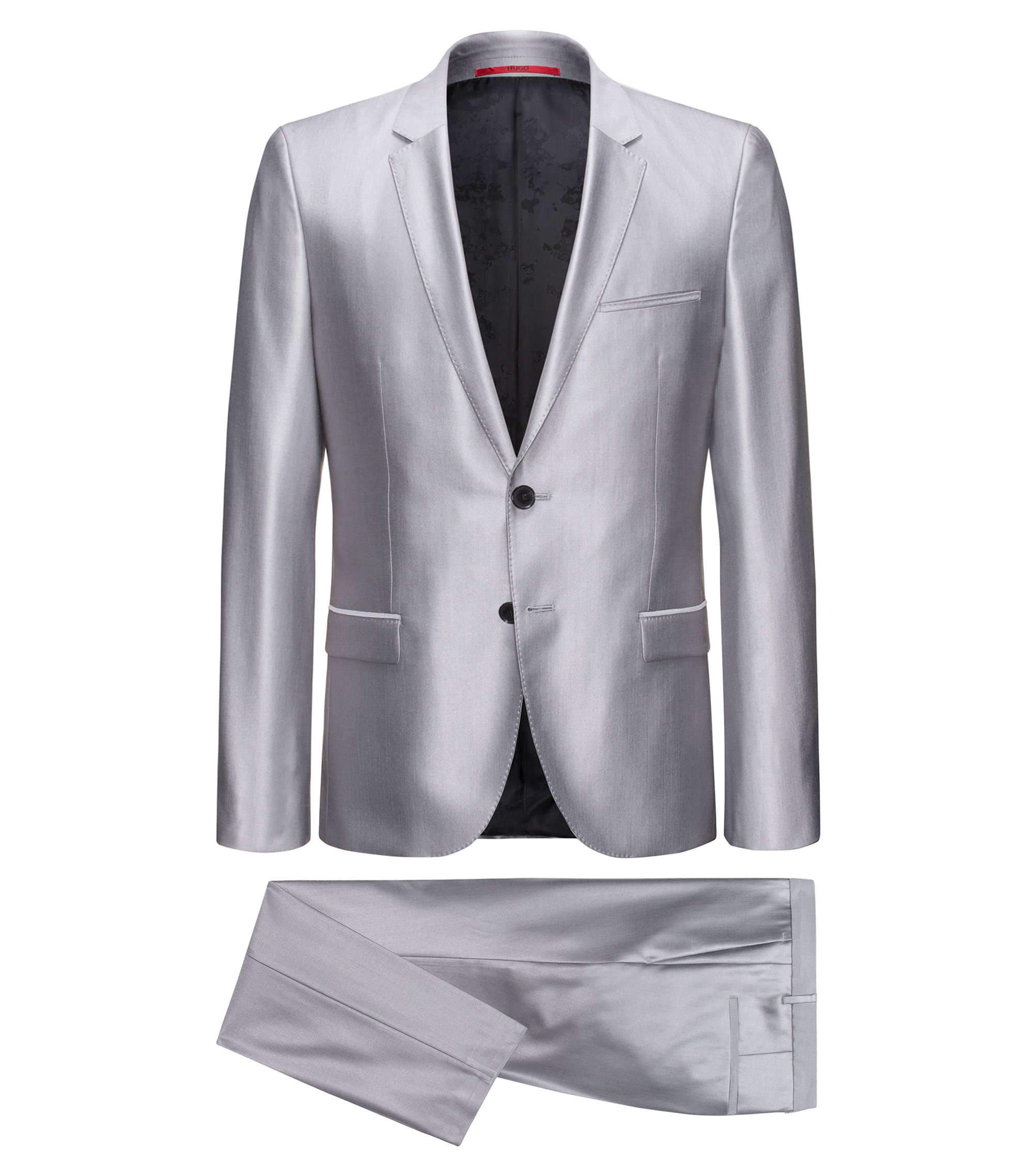 Virgin Wool-Silk Suit, Extra Slim Fit | Arti/Hesten, Silver