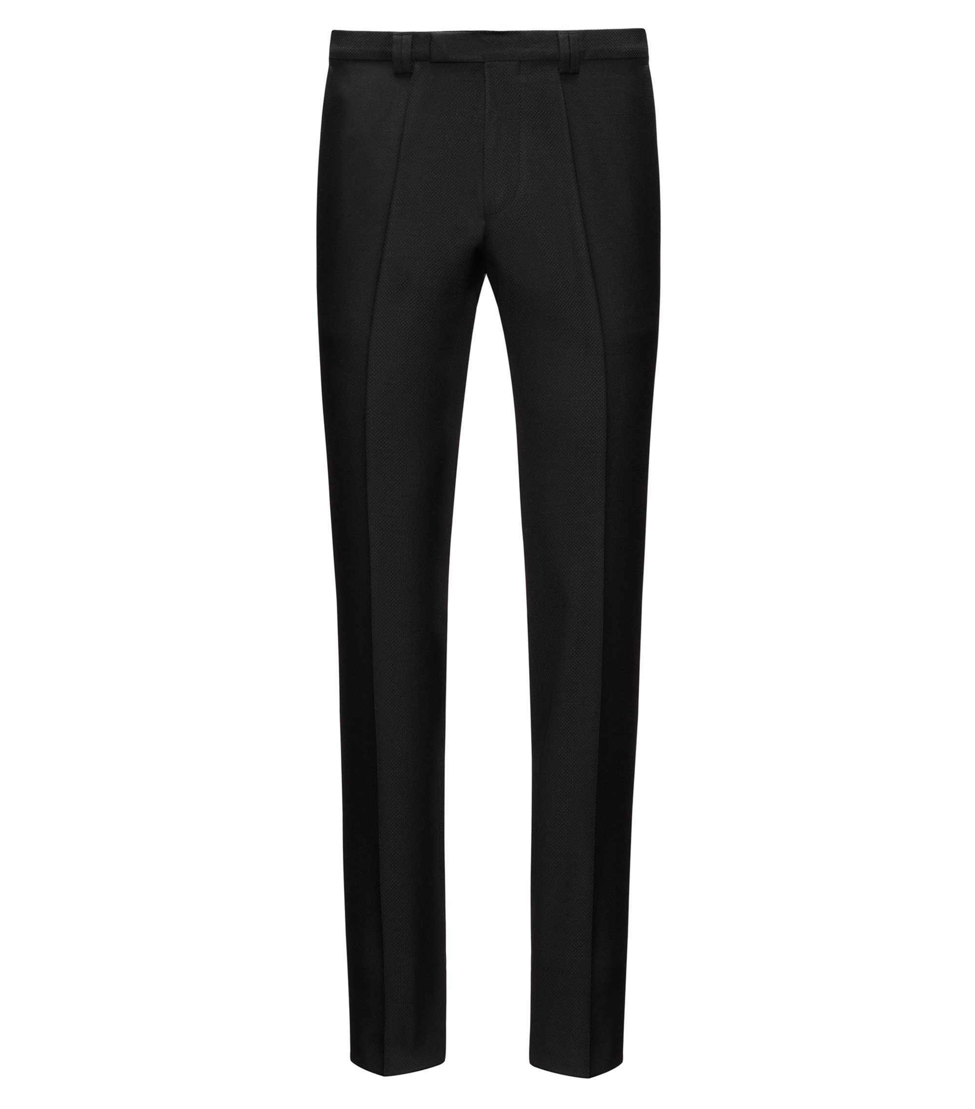 Diamond Woven Virgin Wool Pant, Extra Slim Fit | Hesten, Black