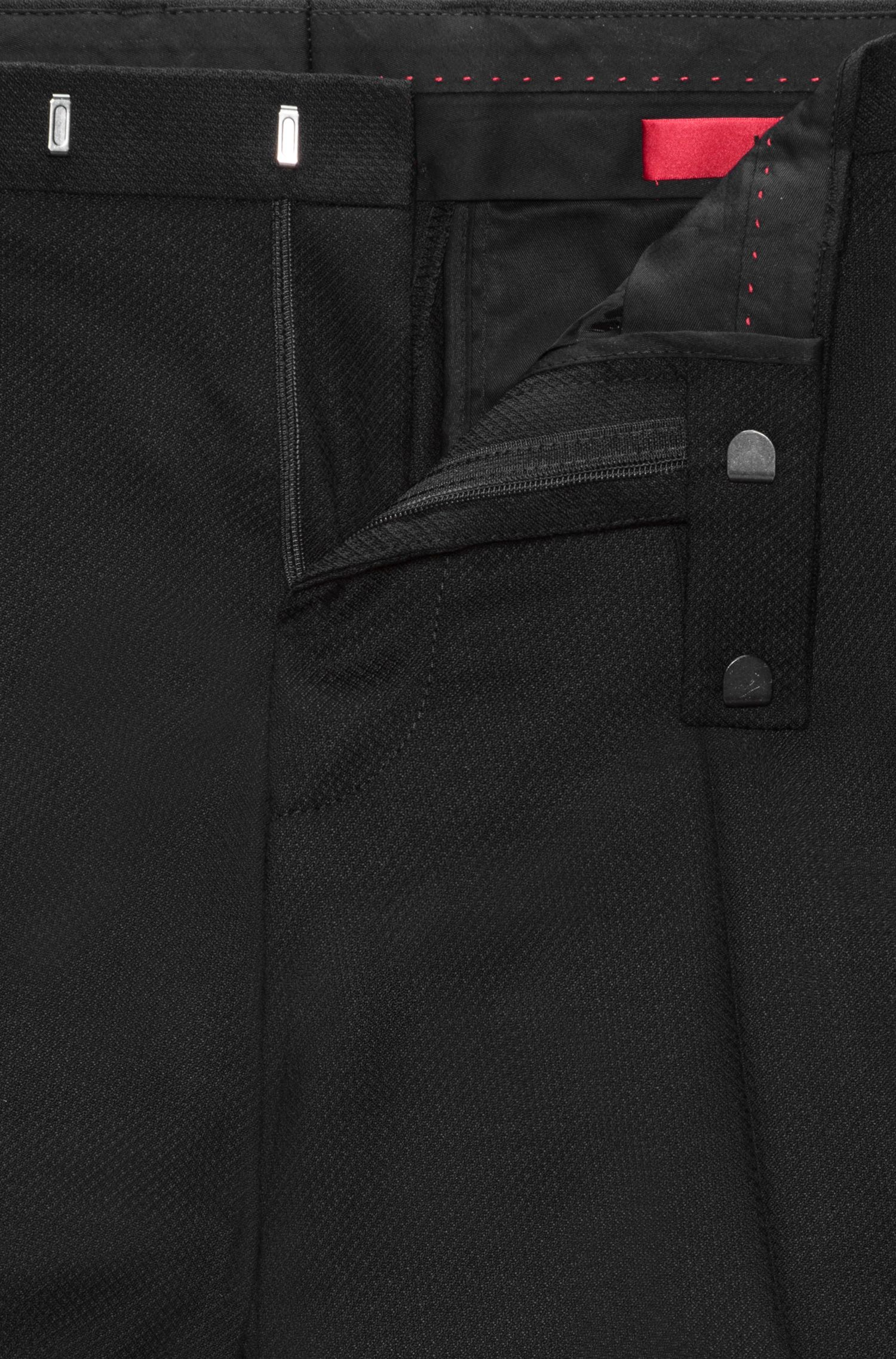 Diamond Woven Virgin Wool Pant, Extra Slim Fit | Hesten, Black