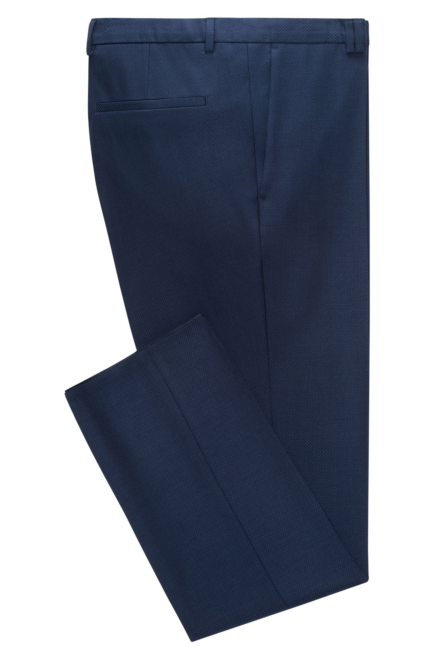 Diamond Woven Virgin Wool Pant, Extra Slim Fit | Hesten, Dark Blue