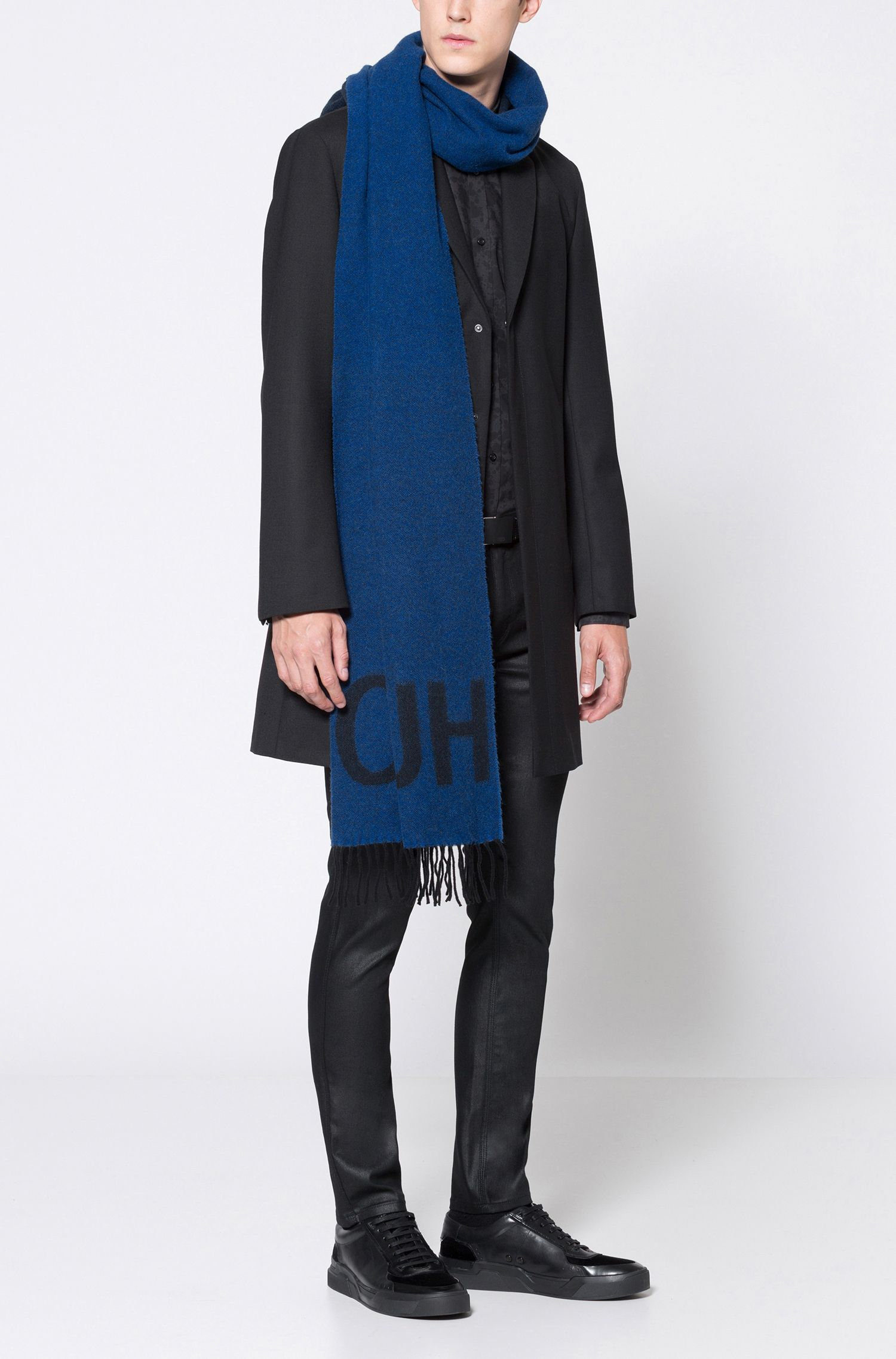Virgin Wool Blend Scarf | Men Z, Blue