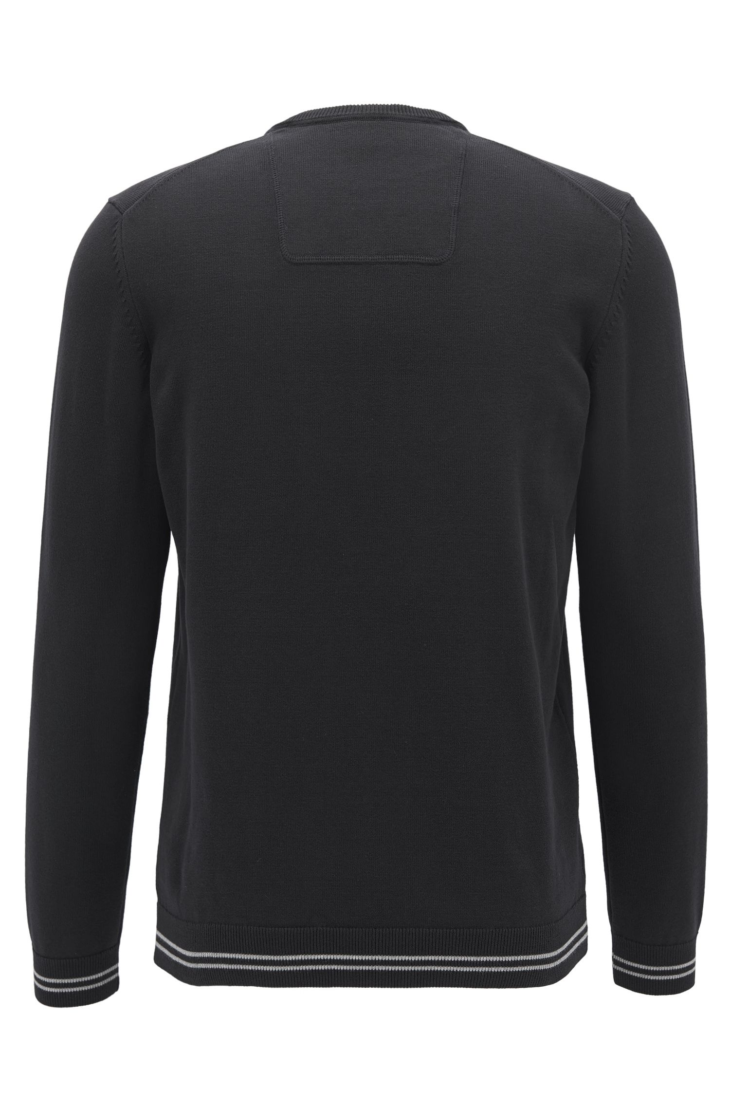 Tipped Stretch Cotton Sweater | Rime S, Black