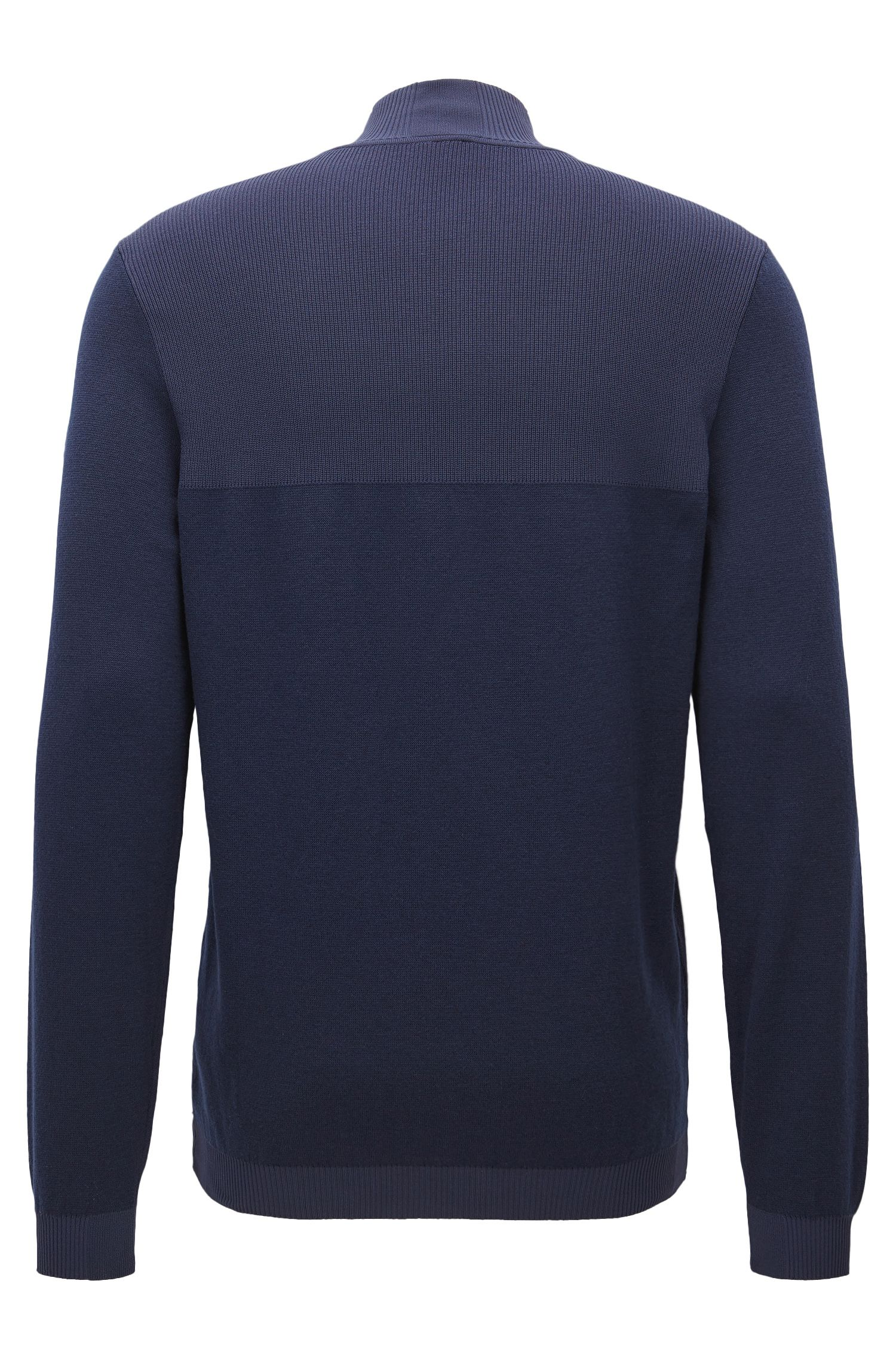 Cotton Blend Half-Zip Sweater | Zokia, Dark Blue