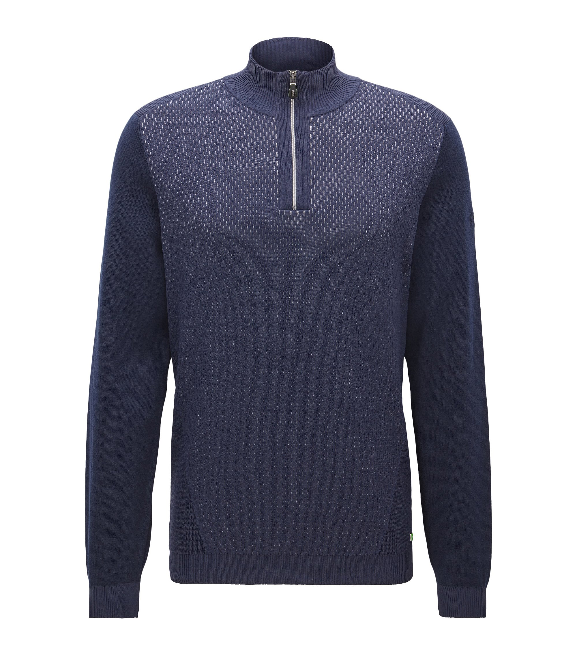 Cotton Blend Half-Zip Sweater | Zokia, Dark Blue