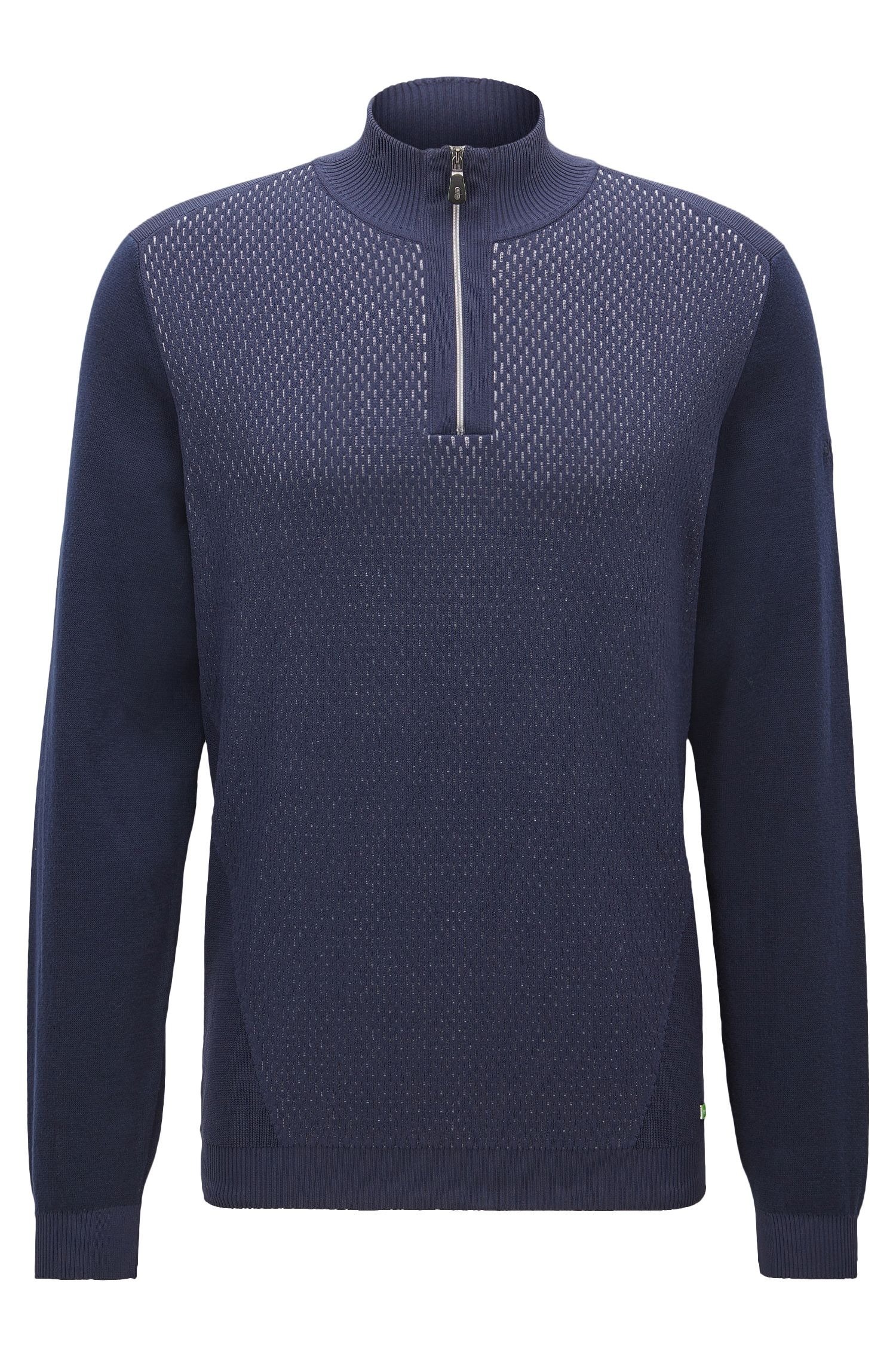 Cotton Blend Half-Zip Sweater | Zokia