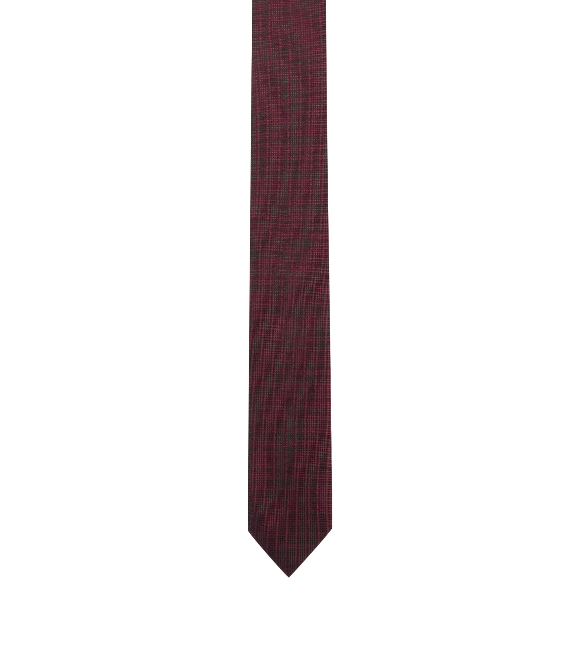 Plaid Italian Silk Slim Tie, Dark Red