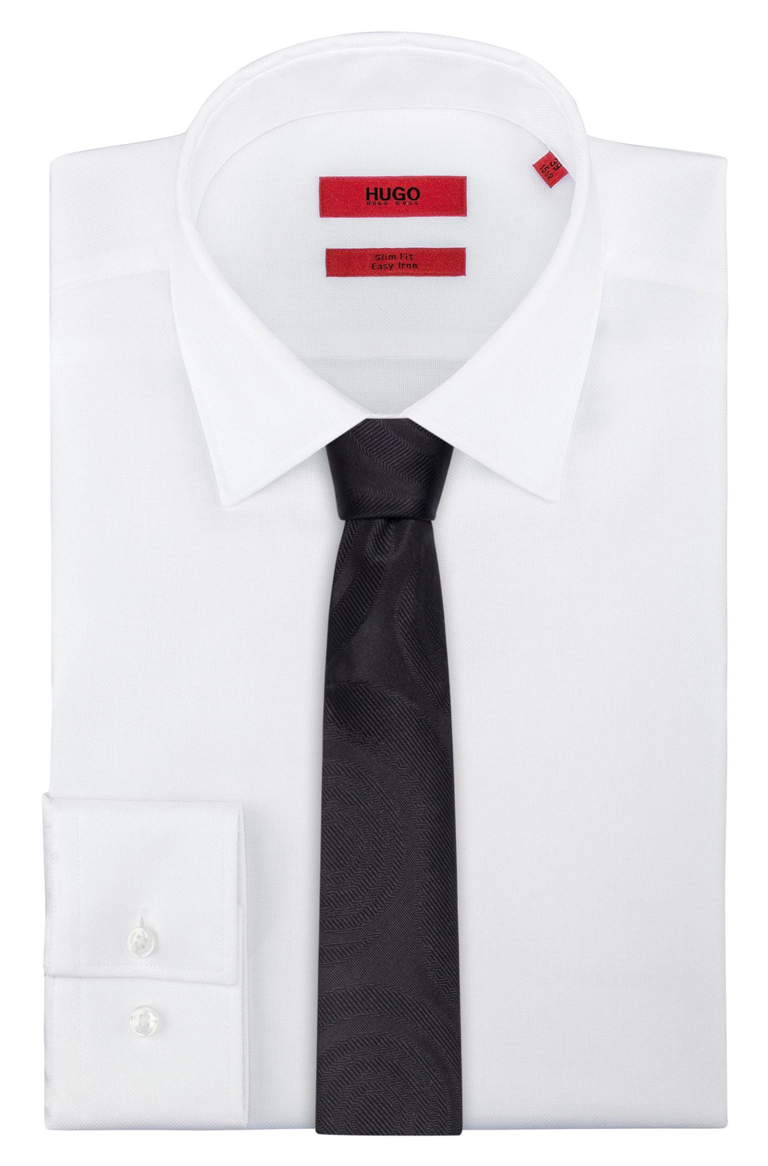 Swirled Italian Silk Slim Tie, Black
