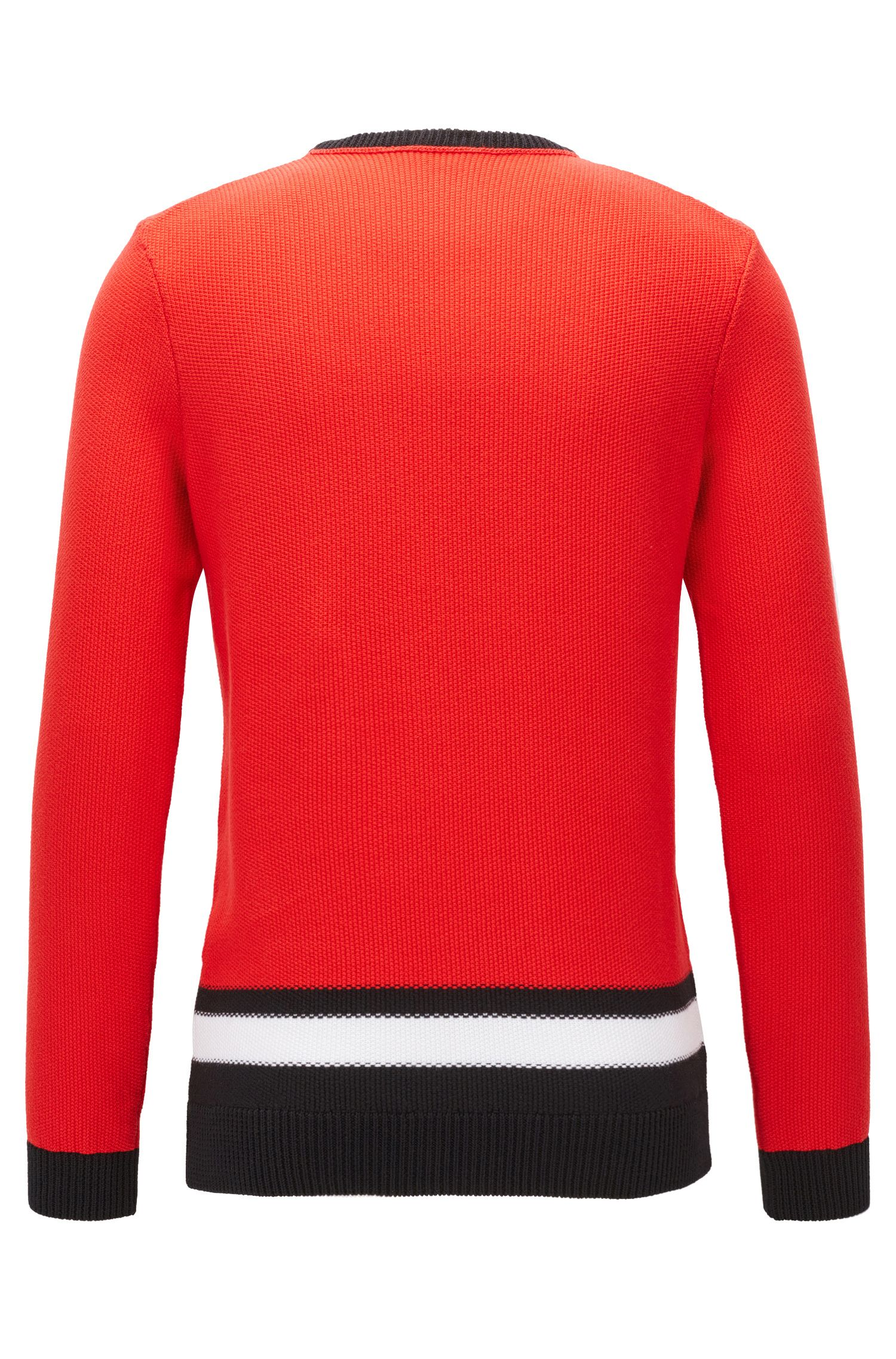 Colorblocked Cotton Sweater | Pagino, Red