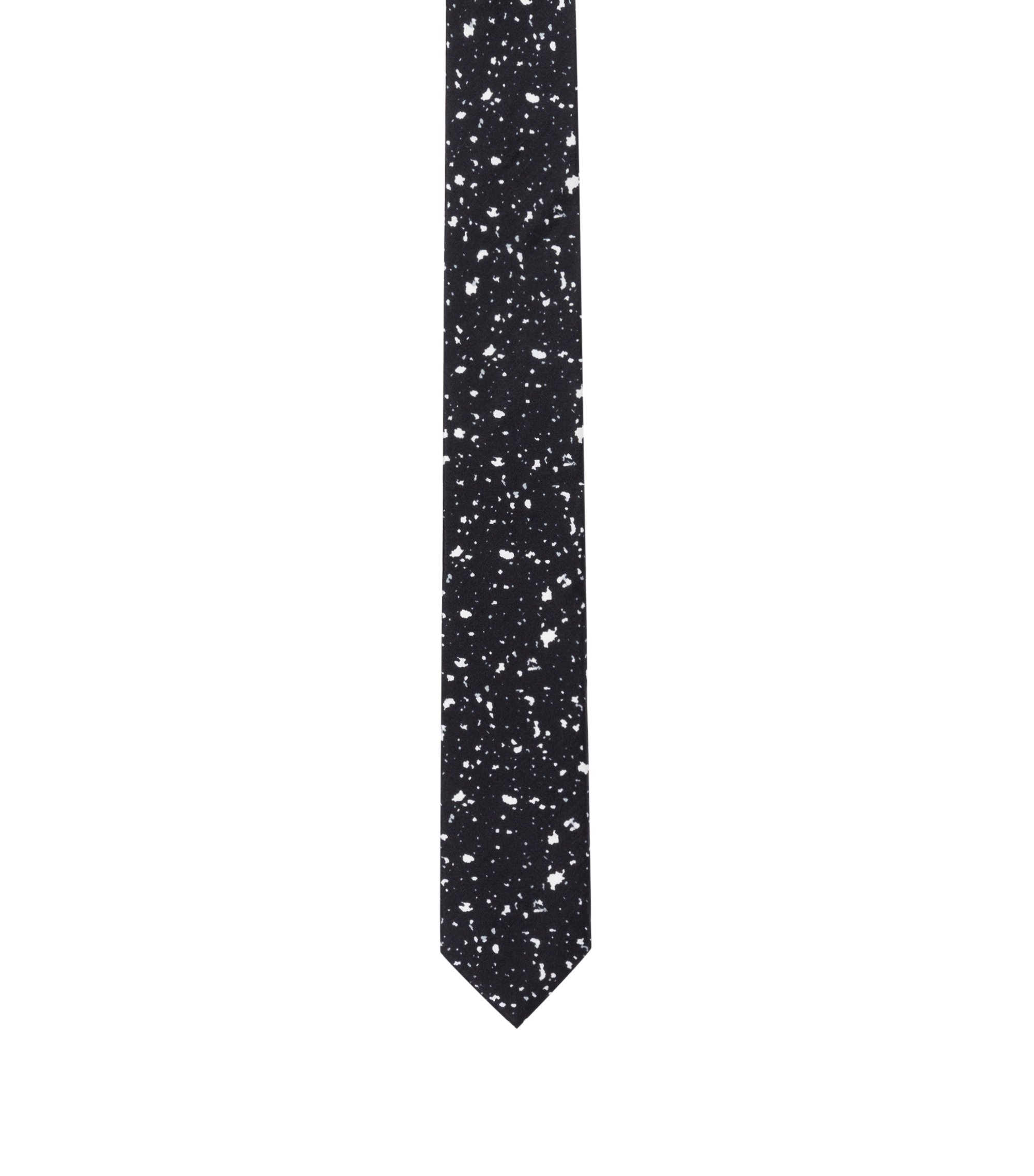 Paint Splattered Italian Silk Slim Tie, Black