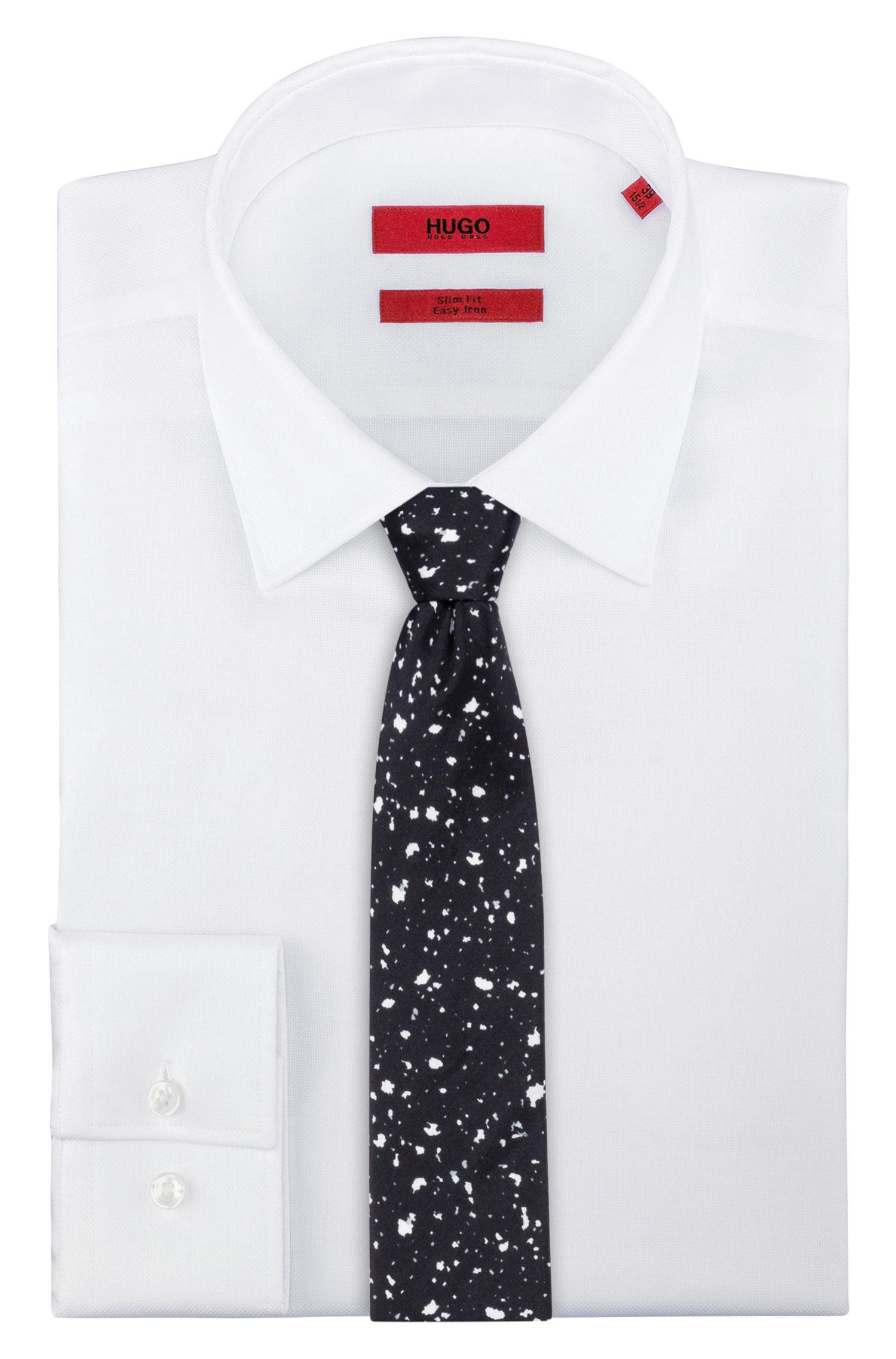Paint Splattered Italian Silk Slim Tie, Black