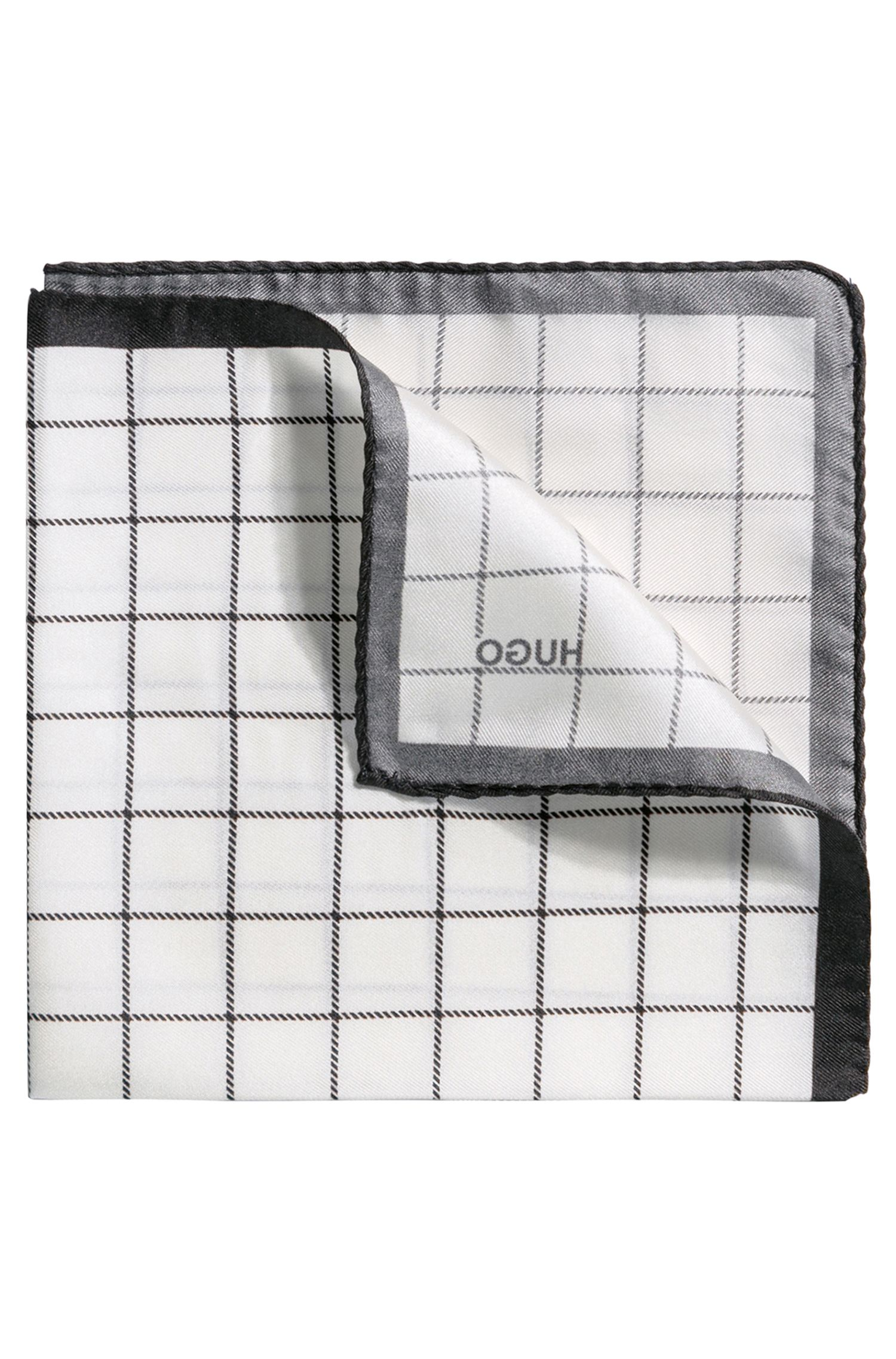 Windowpane Italian Silk Pocket Square, Black