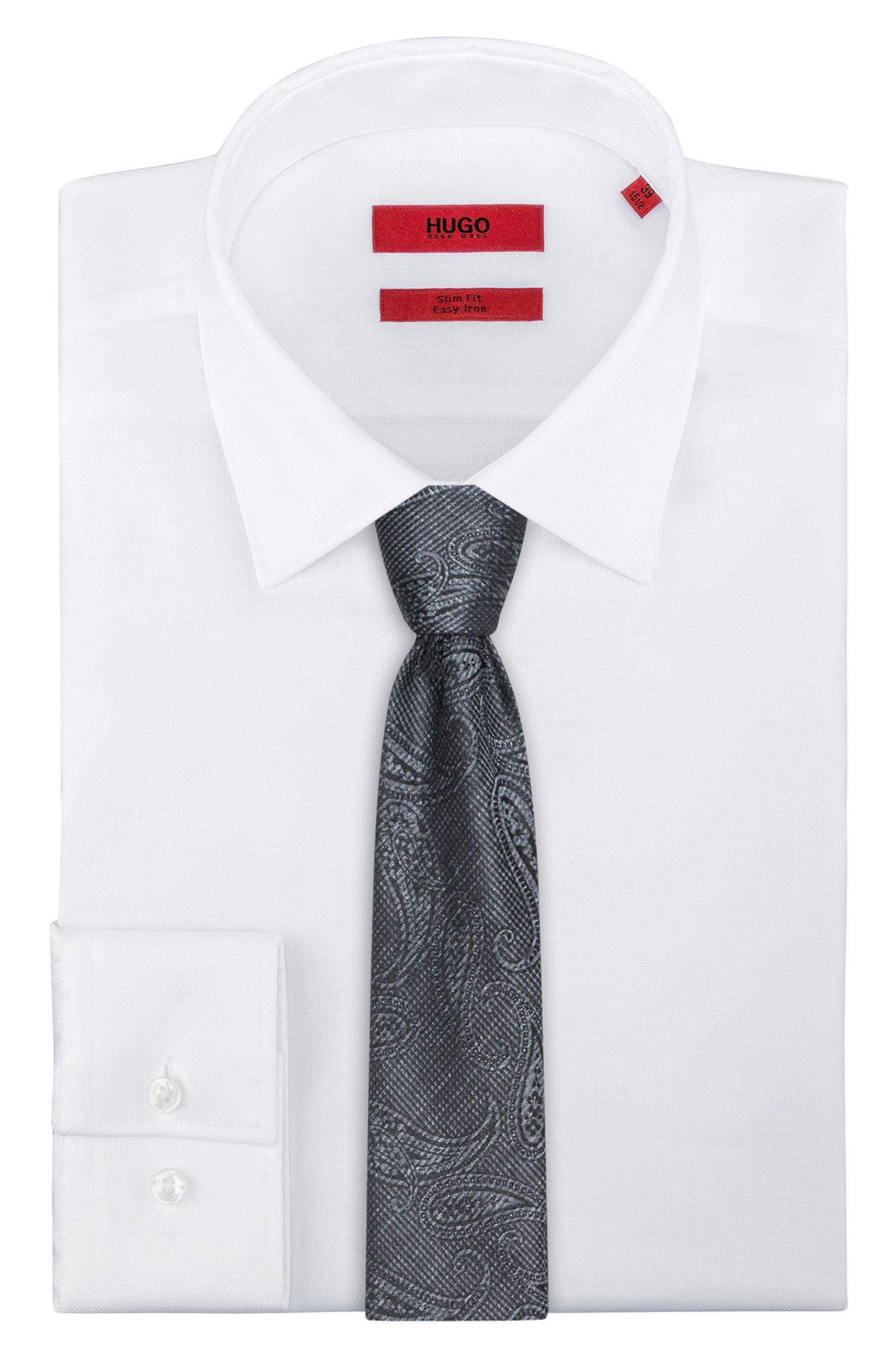 Paisley Italian Silk Slim Tie, Black